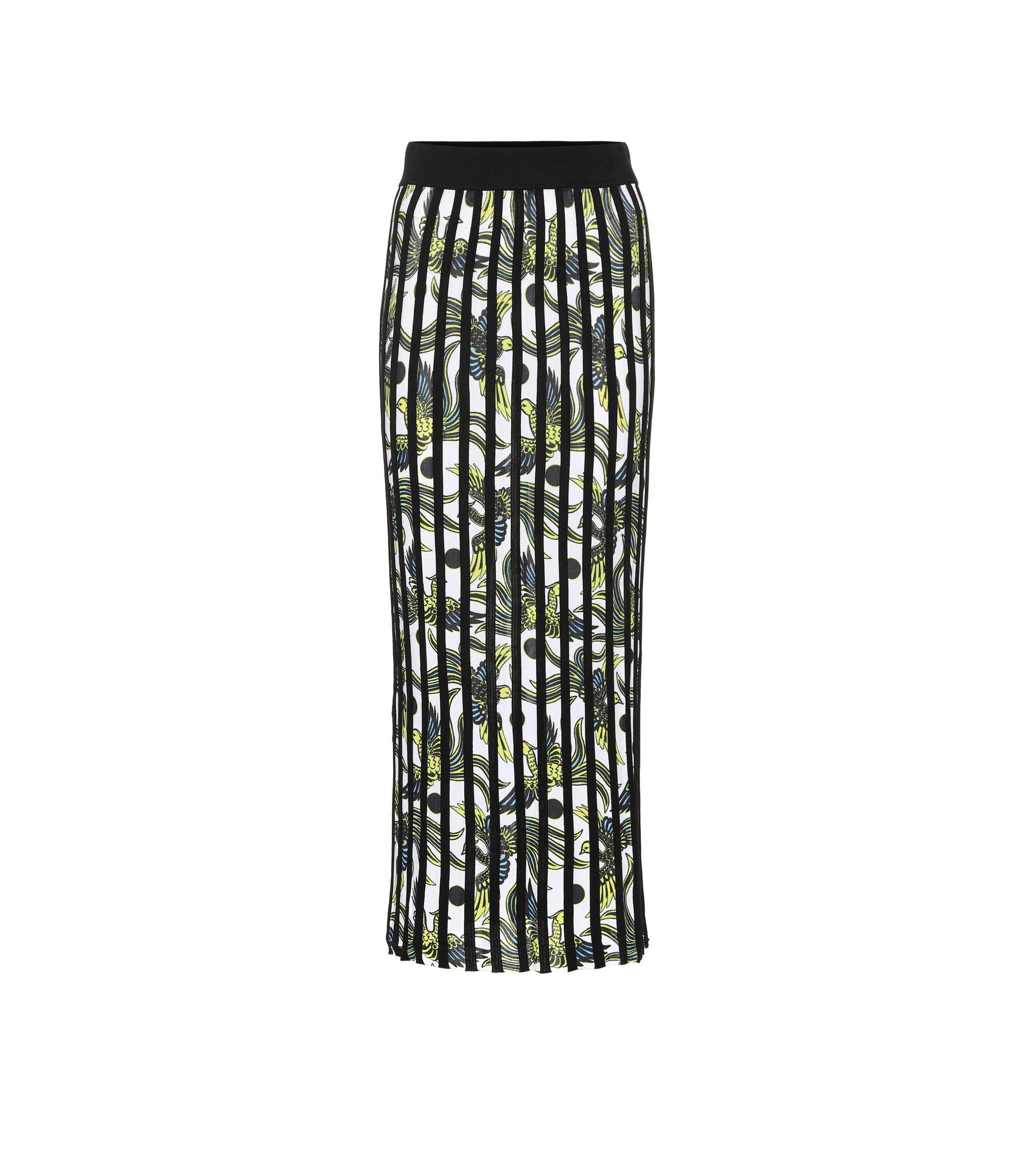 6d727300d Kenzo Striped Midi Skirt in White - Lyst