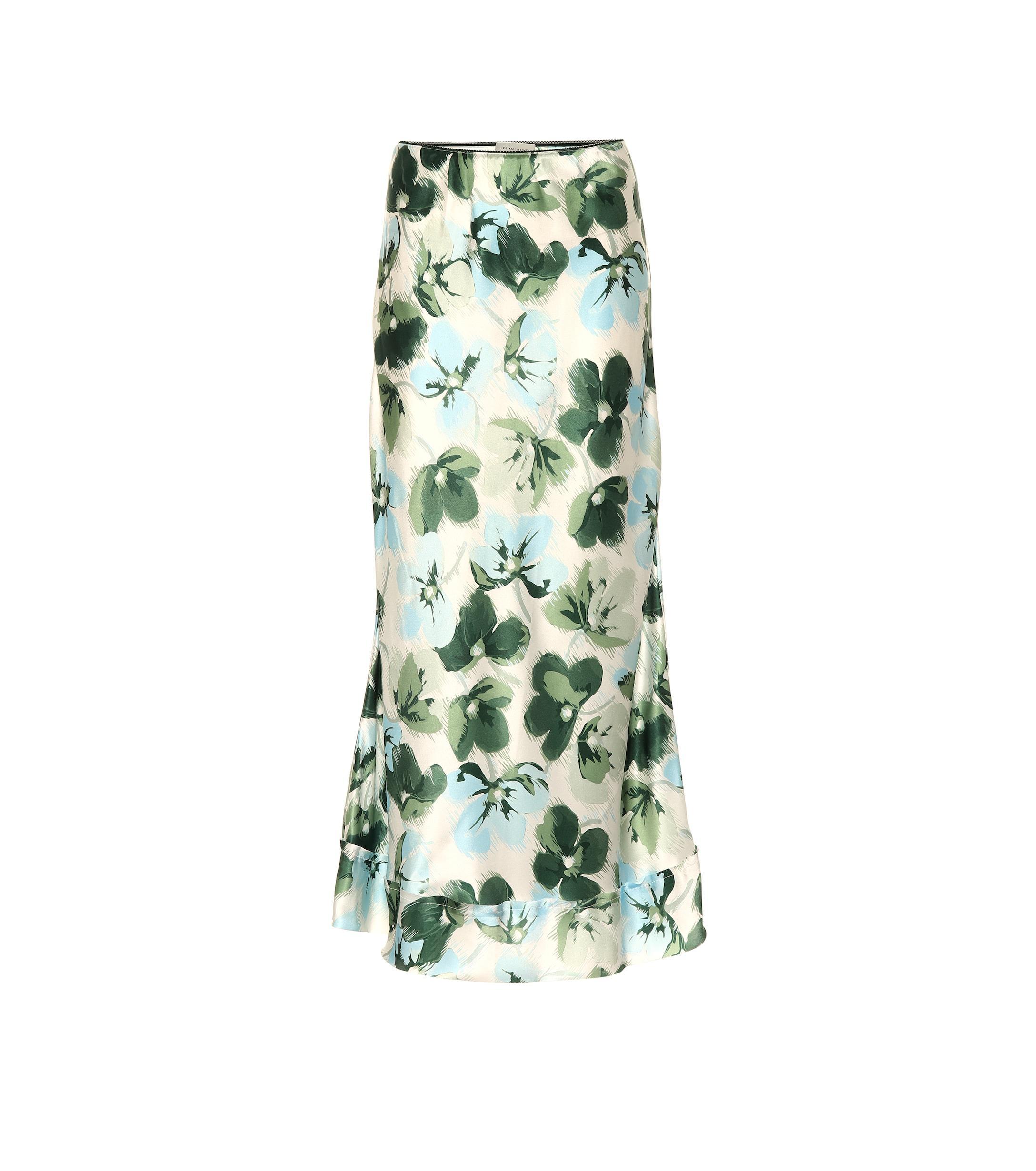 3339a7484 Falda de seda floral Lee Mathews de color Verde - Lyst