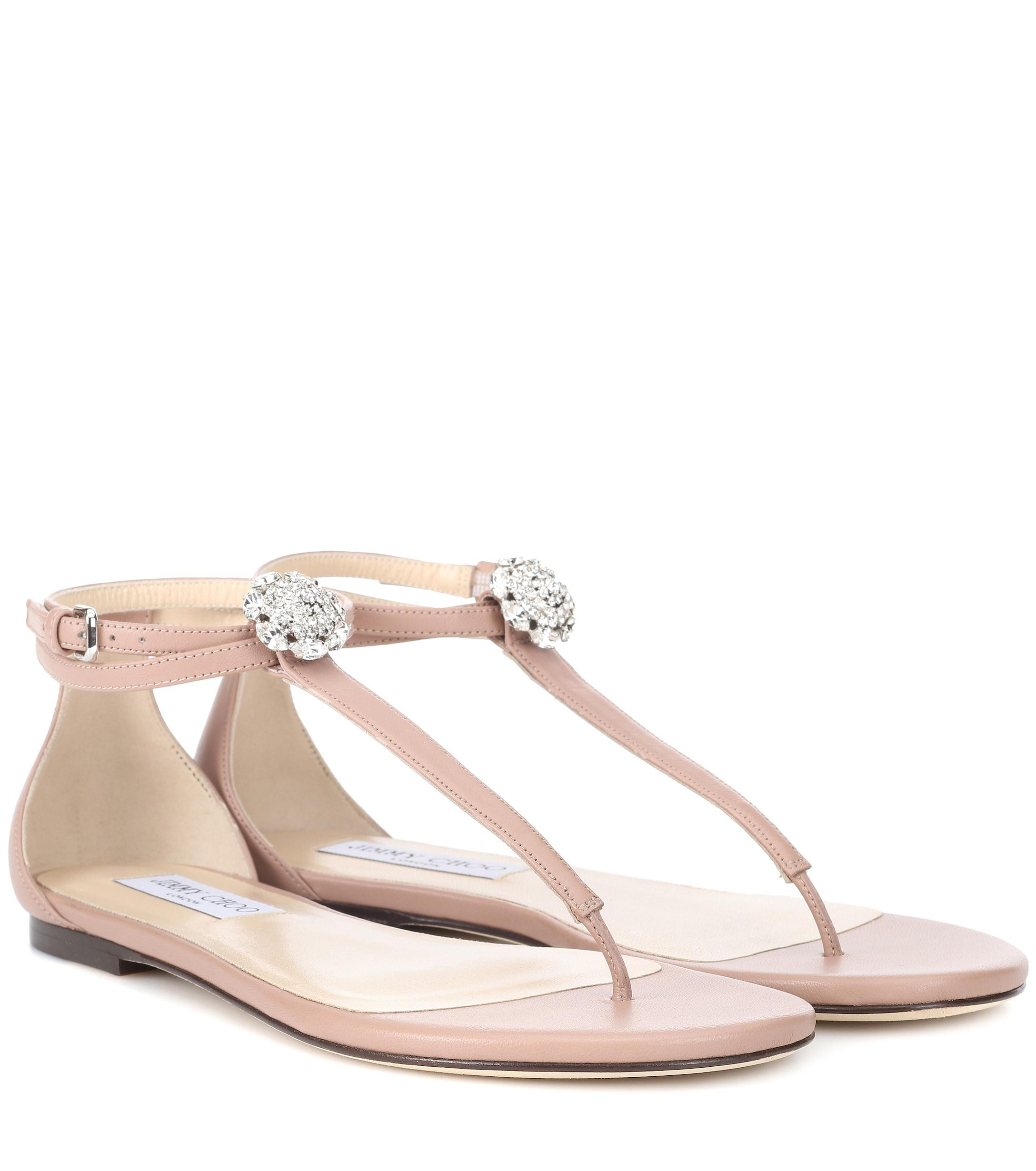 64d1f8a43c685 Lyst - Jimmy Choo Afia Crystal-embellished Leather Sandals in Pink