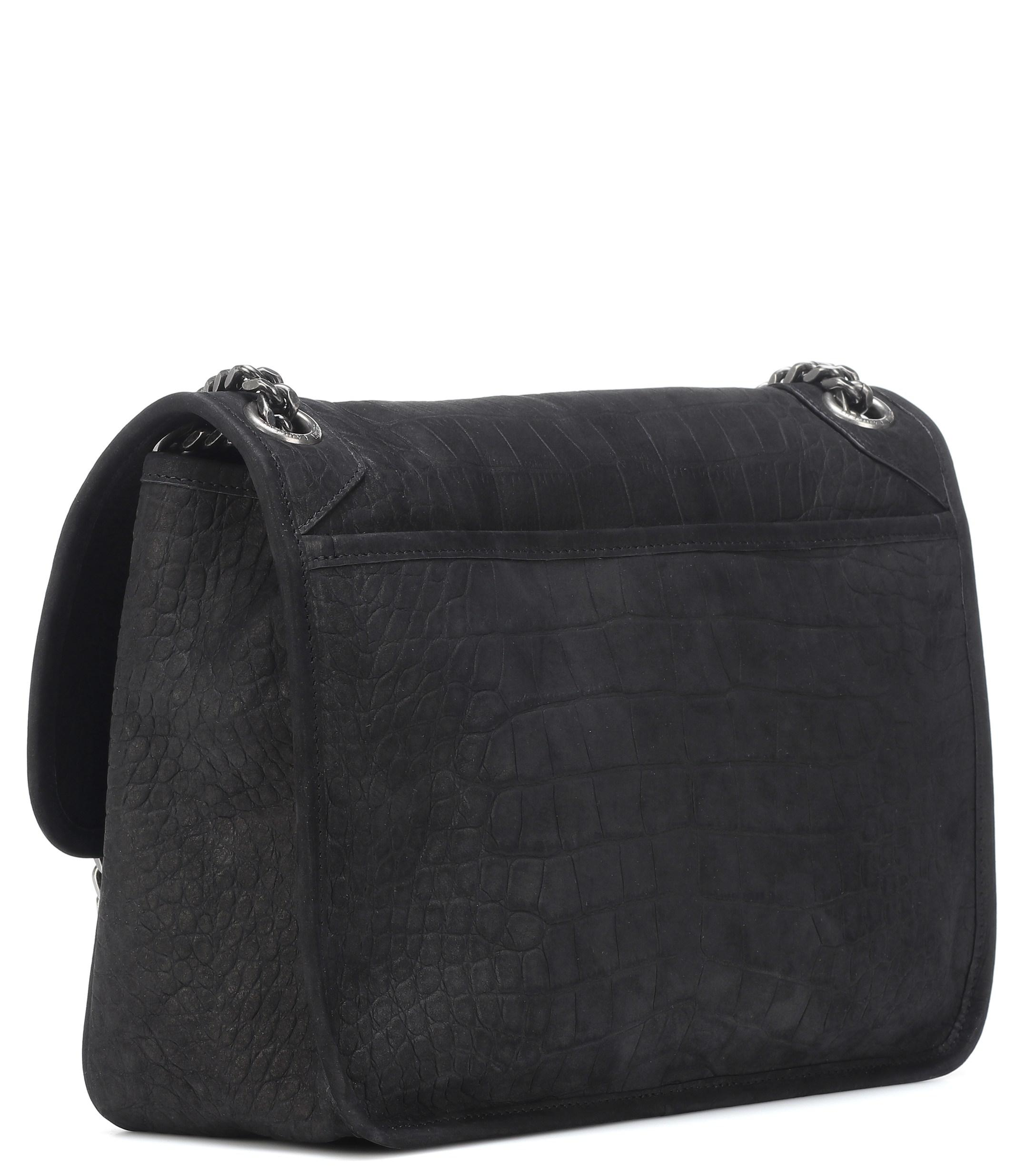 51ec27f6f442 Saint Laurent - Black Medium Niki Suede Shoulder Bag - Lyst. View fullscreen