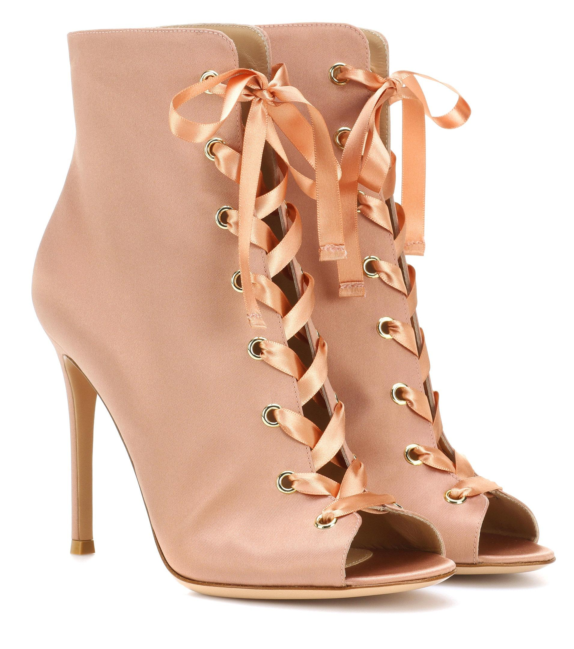 Gianvito Rossi Marie satin peep-toe ankle boots