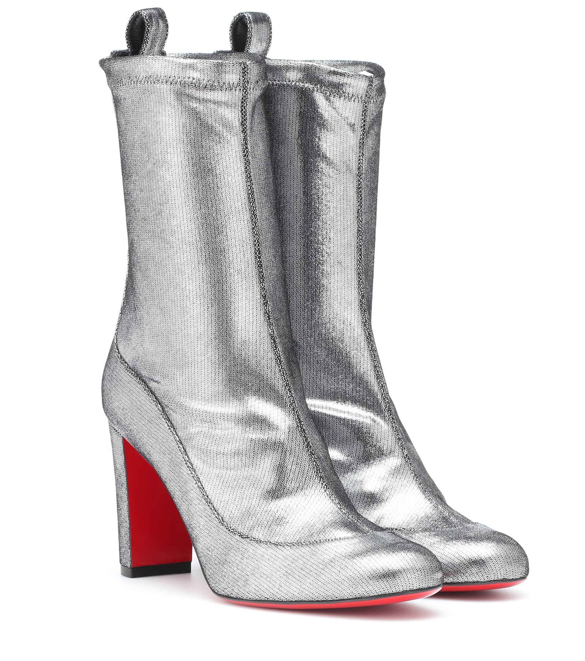 57ede46e009d Lyst - Christian Louboutin Gena 85 Metallic Leather Boots in Metallic