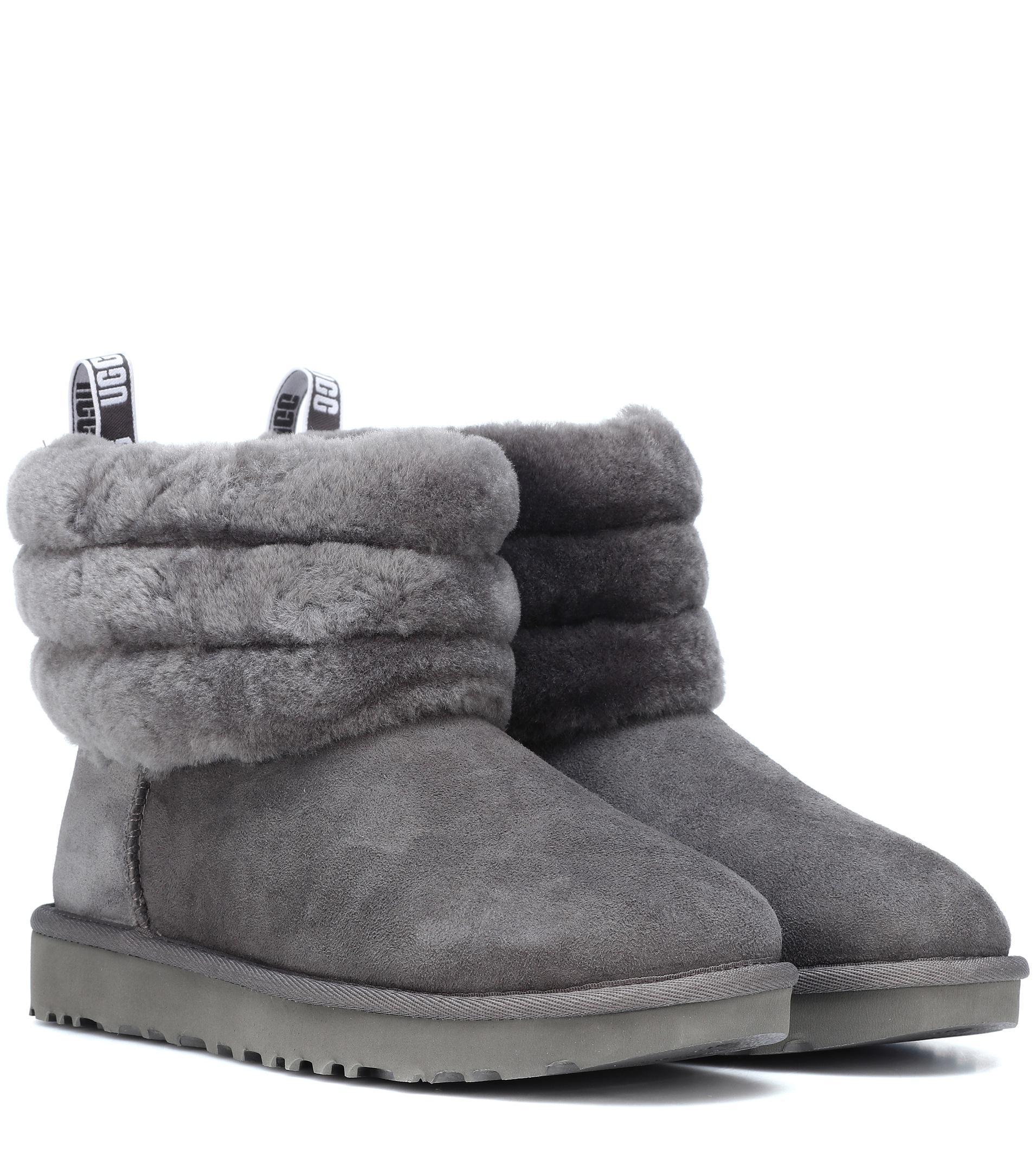90dcb2a6c56 Ugg Gray Fluff Mini Quilted Suede Ankle Boots