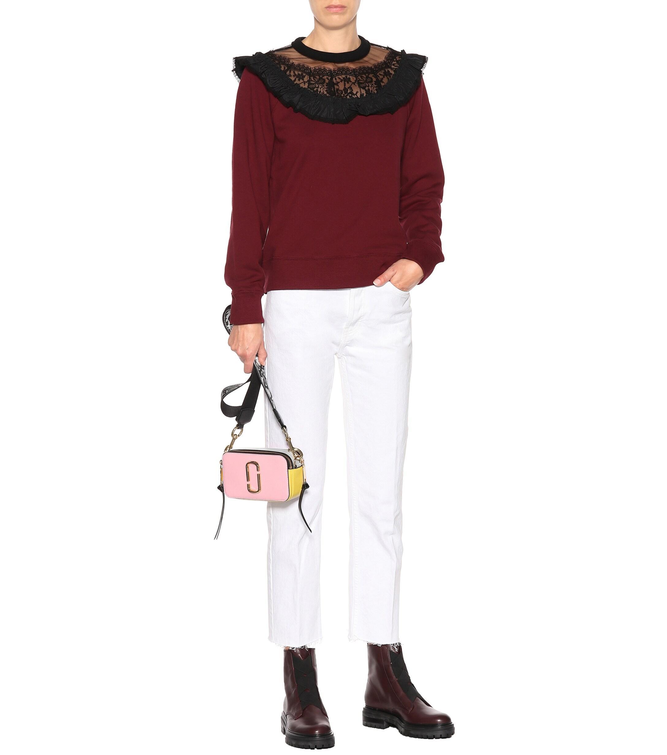 Sweat-shirt en coton à dentelle et volants Dentelle Marc Jacobs en coloris Rouge
