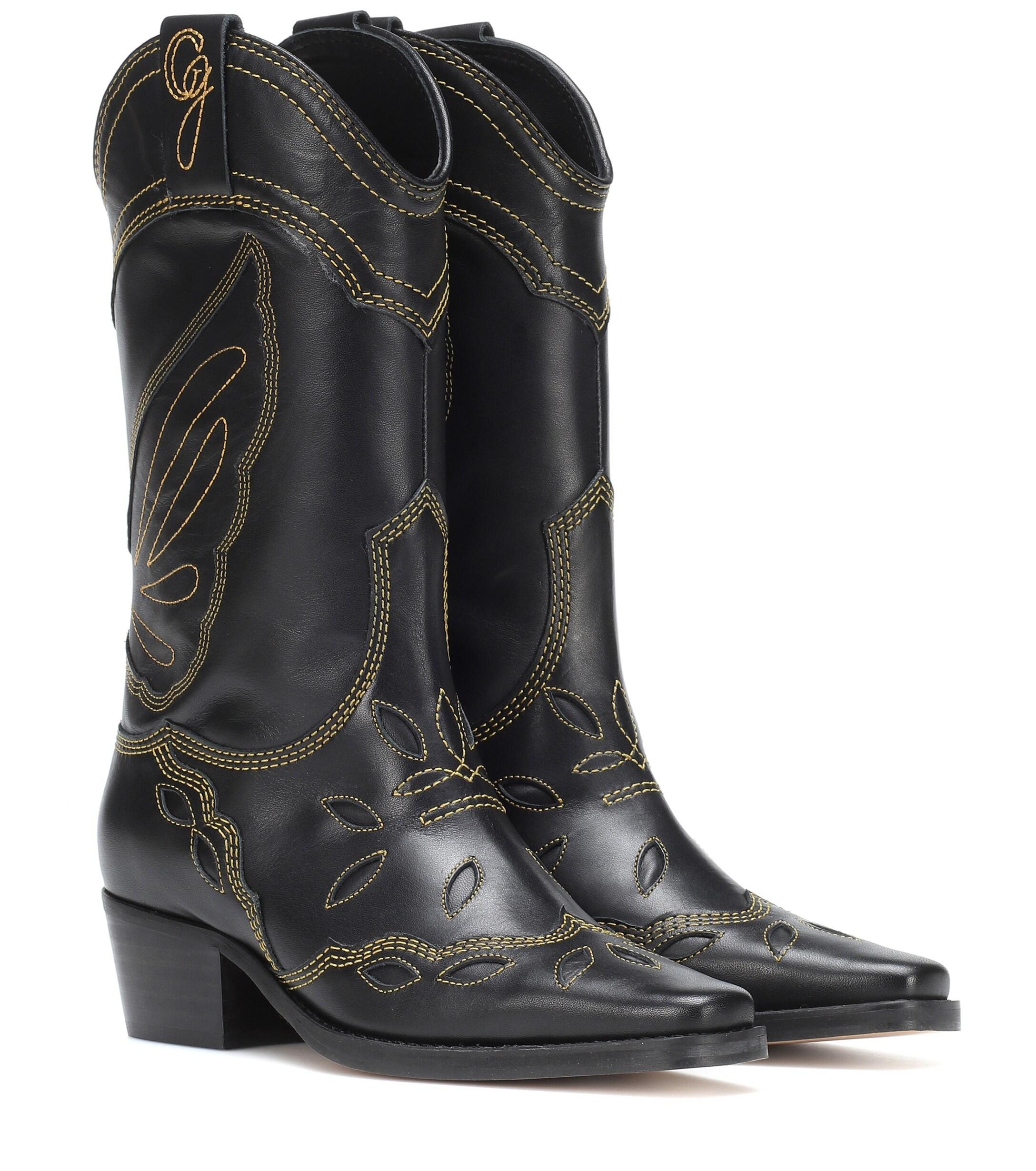 Ganni Black Leather Texas Boots Lyst