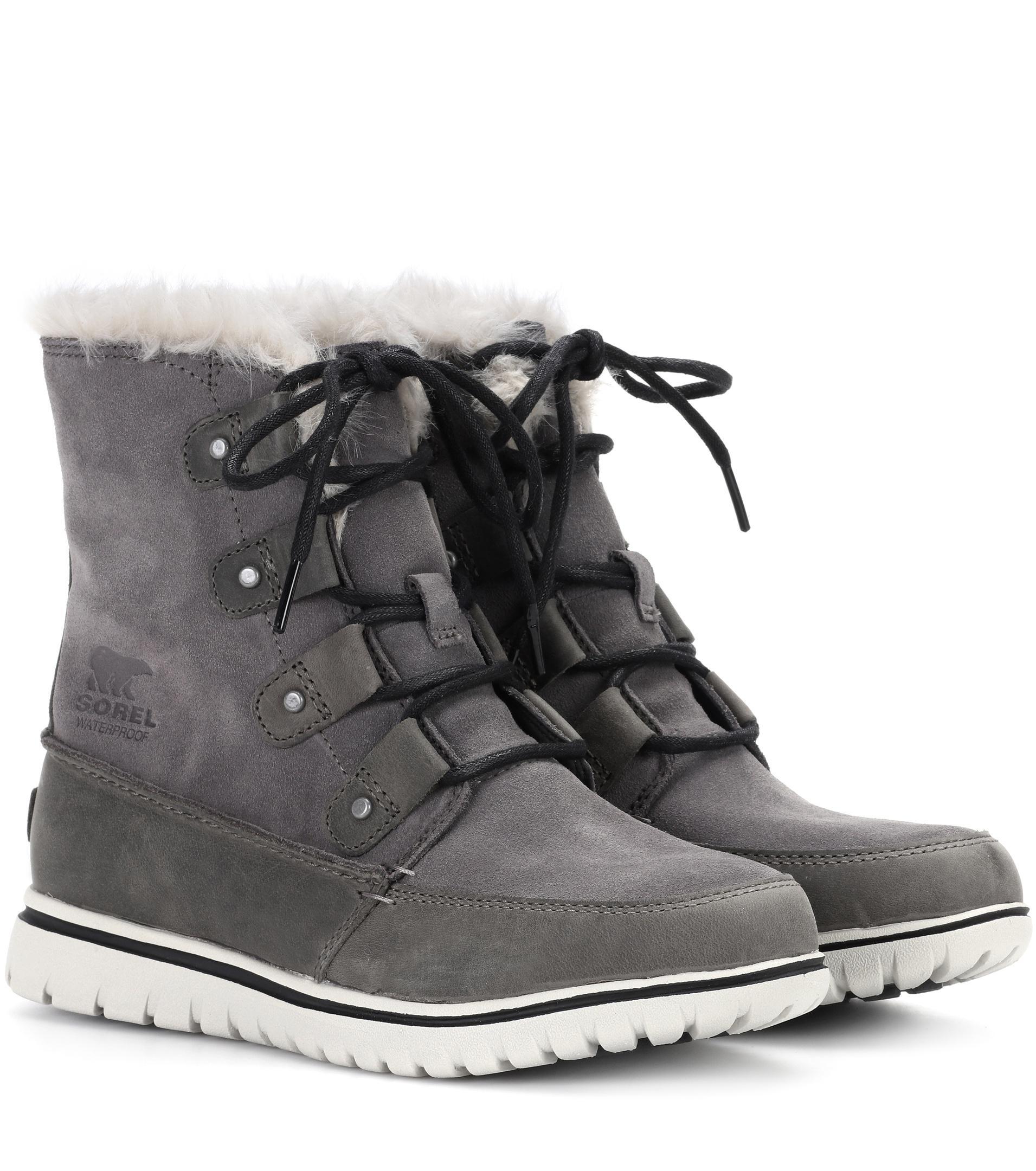 Sorel. Women's Gray Cozy Joan Suede Ankle Boots