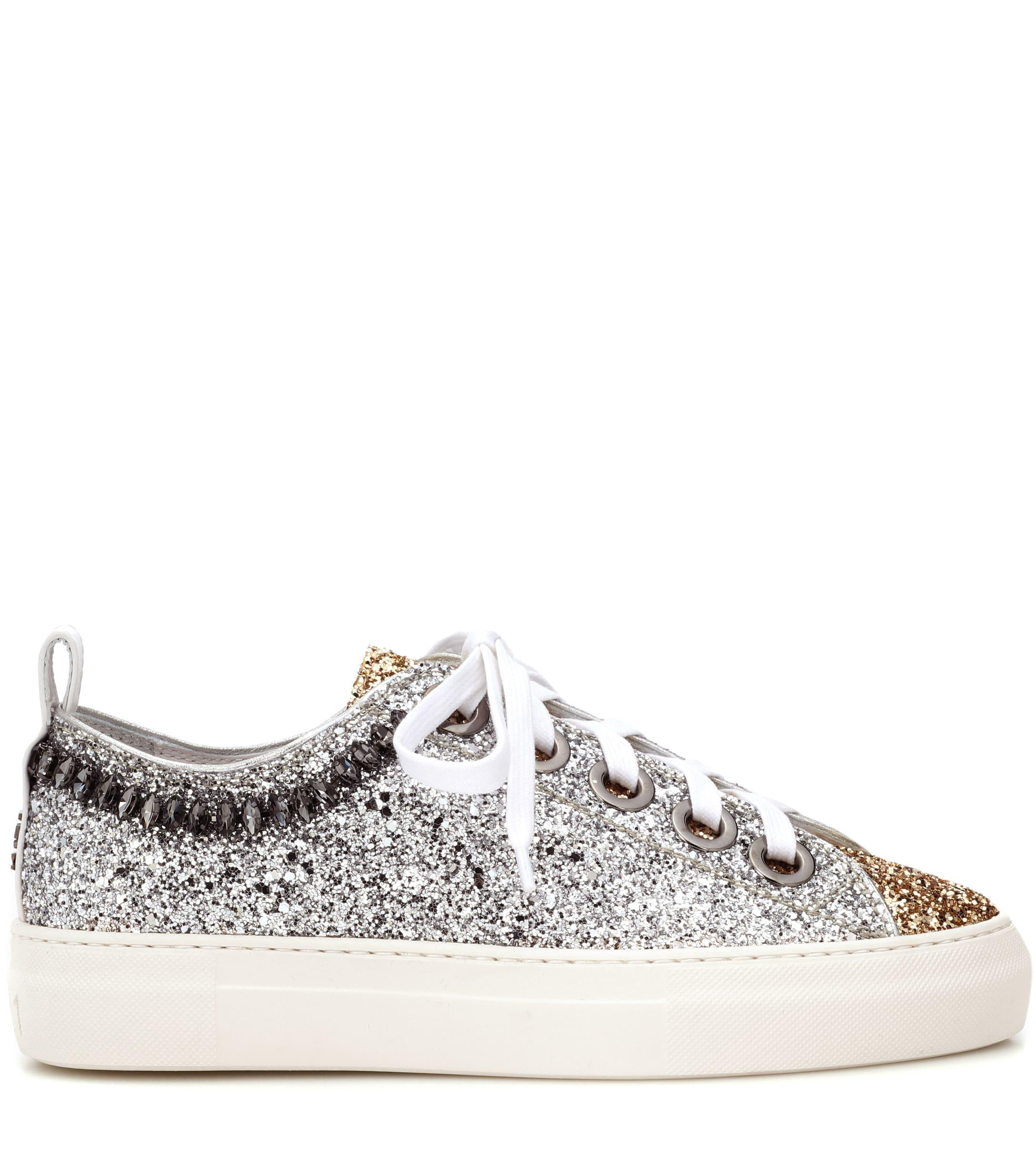 N°21 Glitter And Leather Sneakers in Silver (Metallic)