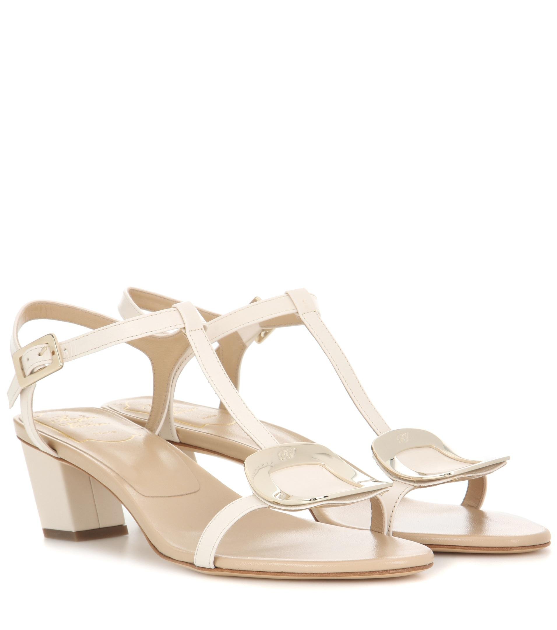 23f2fb72a2aa Lyst - Roger Vivier Chips Leather Sandals in White