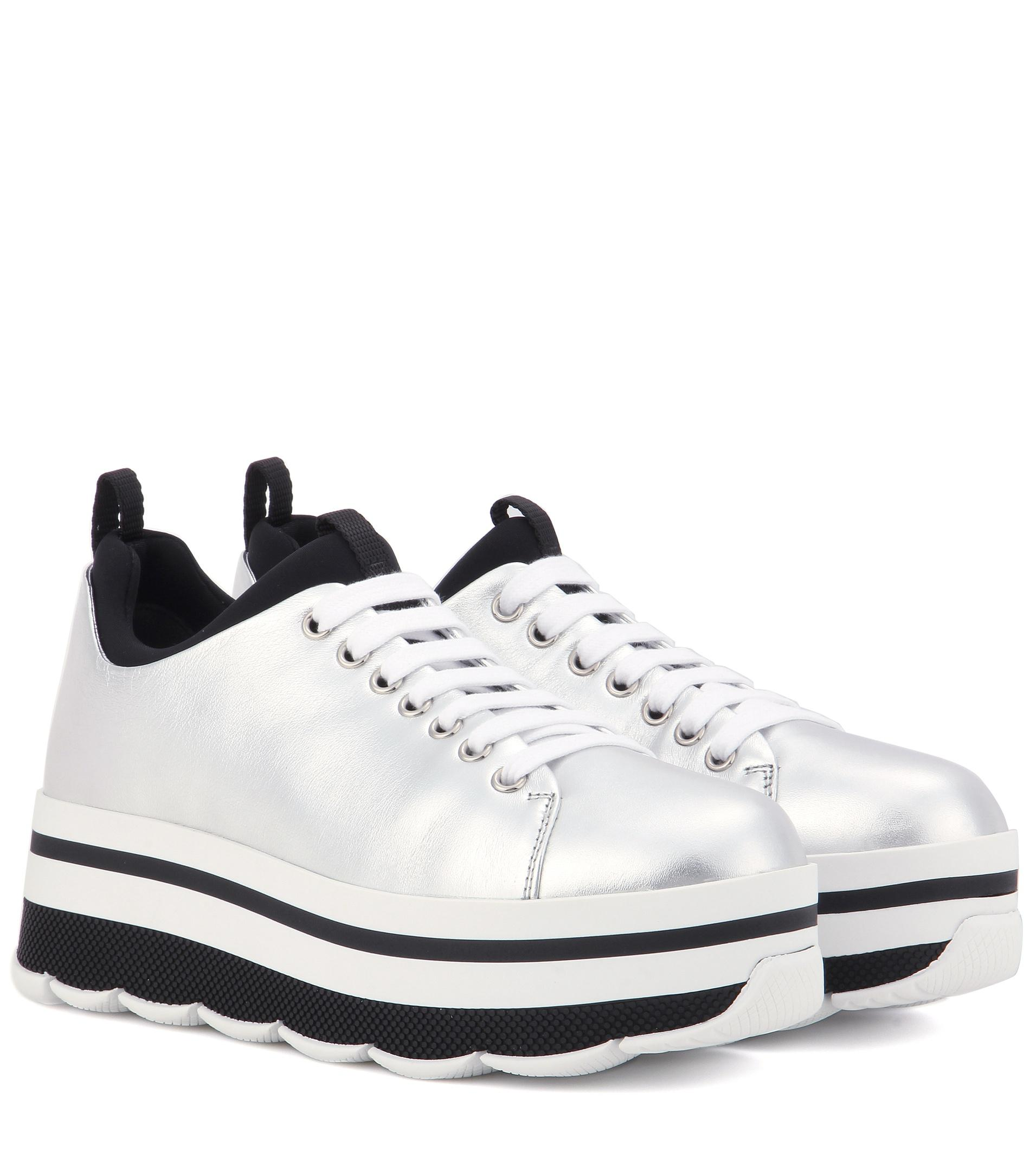 Metallic leather platform sneakers Prada nCd9mBk