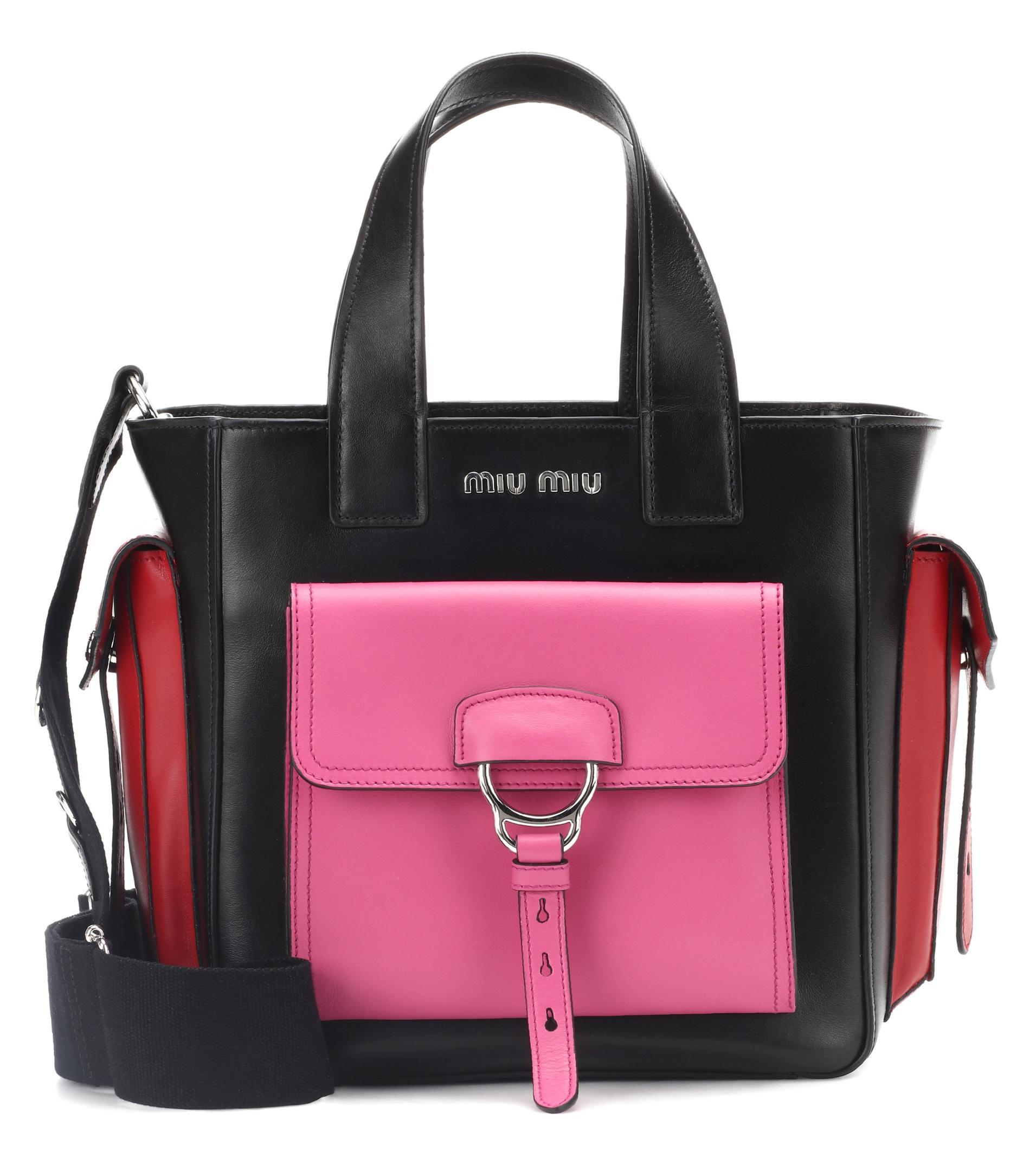 5f2b30104472 Lyst - Miu Miu Leather Shoulder Bag in Black