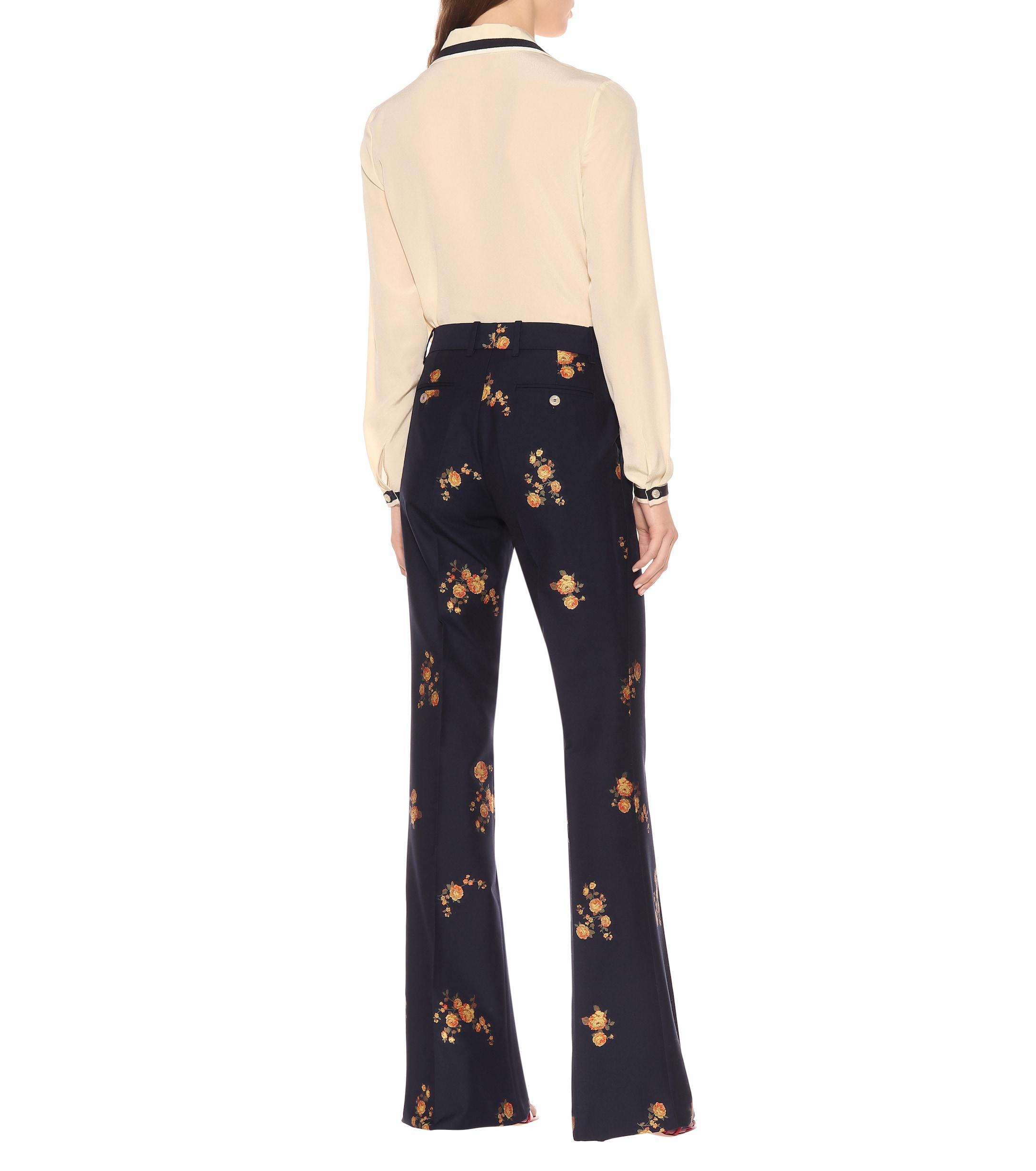 3a5d894fa Gucci - Blue Pantalones de fil coupé floral - Lyst. Ver en pantalla completa