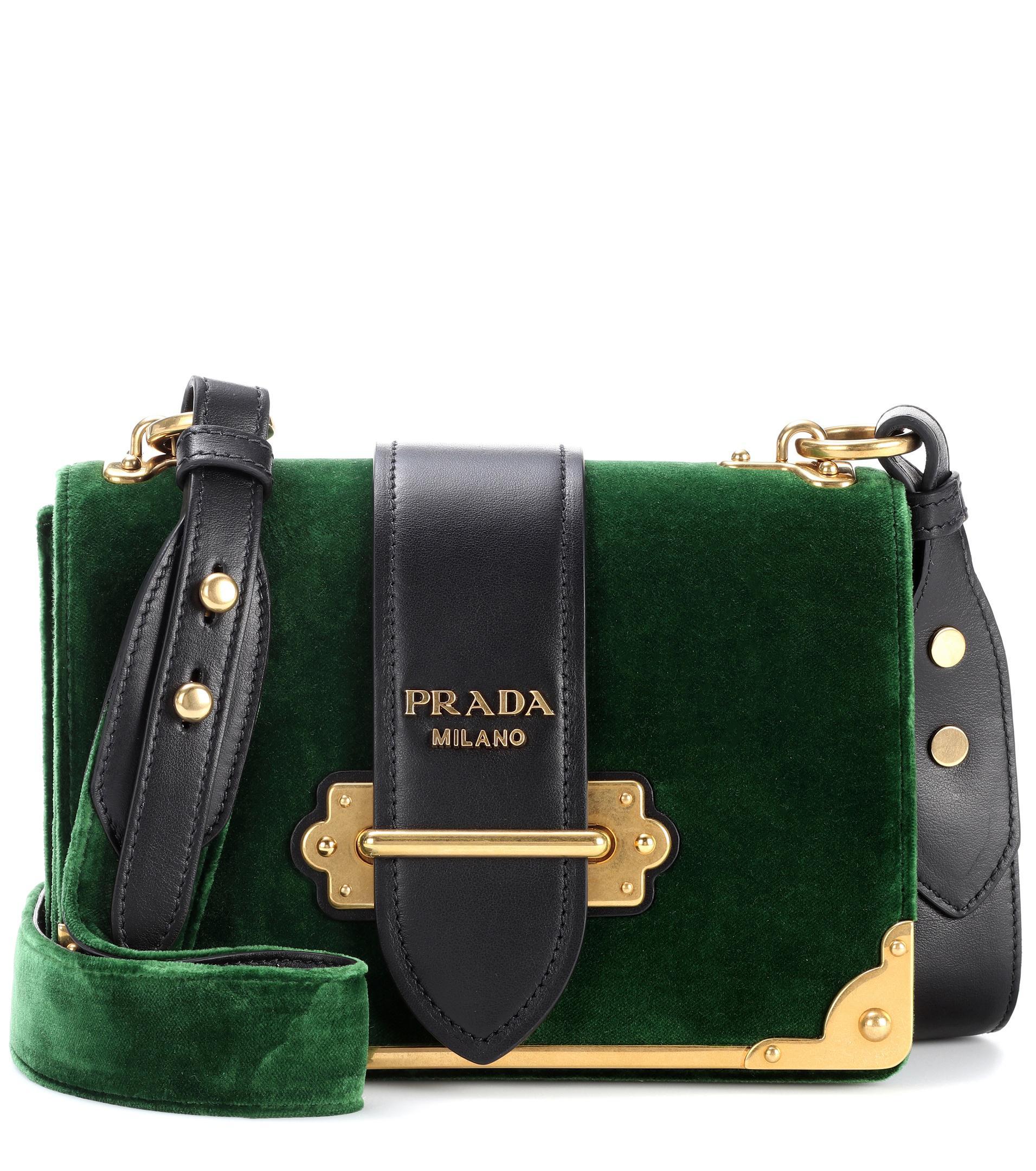 bf9126605729 ... cheap lyst prada cahier velvet shoulder bag in green a129f 9fe09