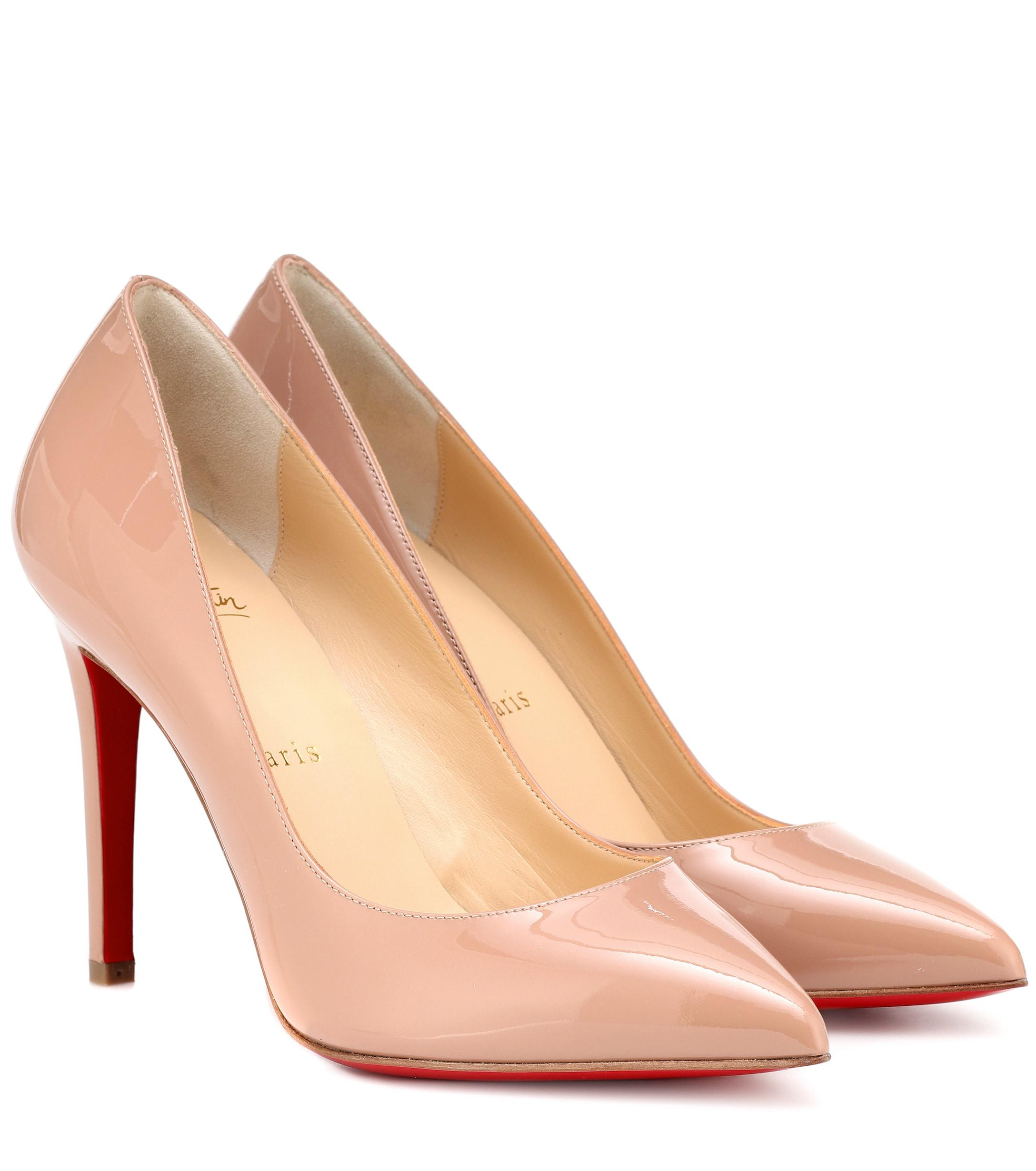 a1f3a0fc362 Christian Louboutin Pigalle 100 Patent Leather Pumps in Natural - Lyst