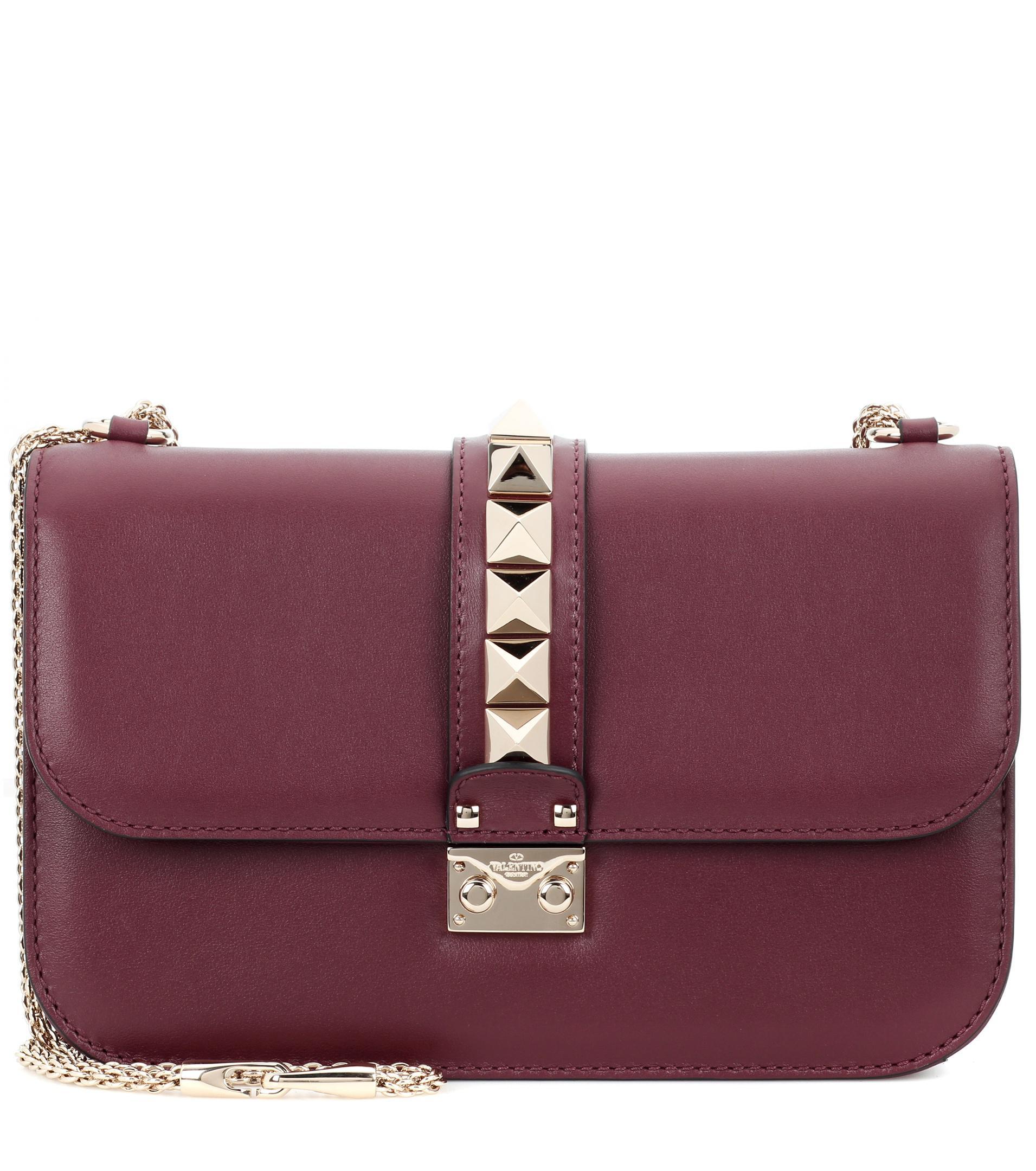 lyst valentino garavani lock medium leather shoulder bag in red. Black Bedroom Furniture Sets. Home Design Ideas