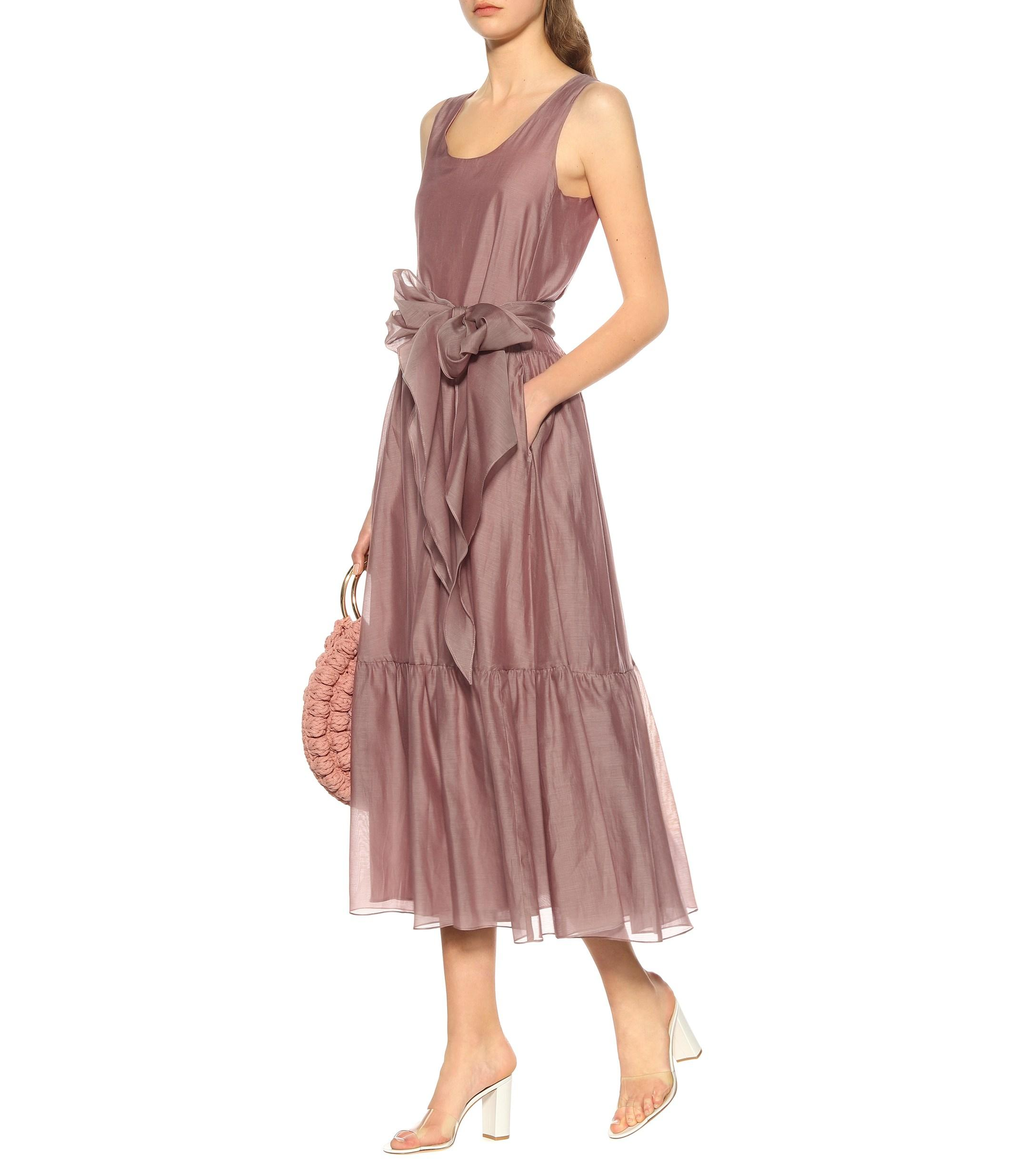 acf1933a82 Lyst - Max Mara Manche Cotton And Silk Voile Dress in Pink