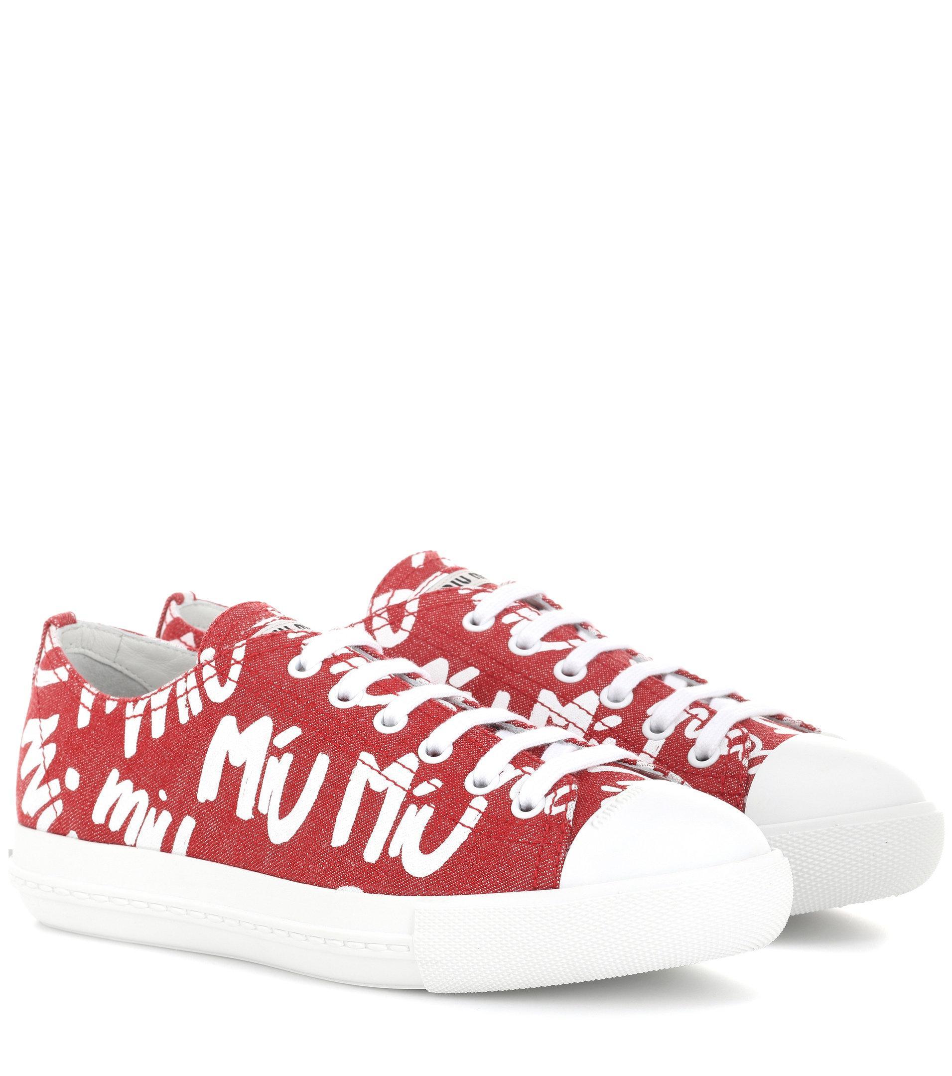 Miu Miu Logo printed sneakers LchVj