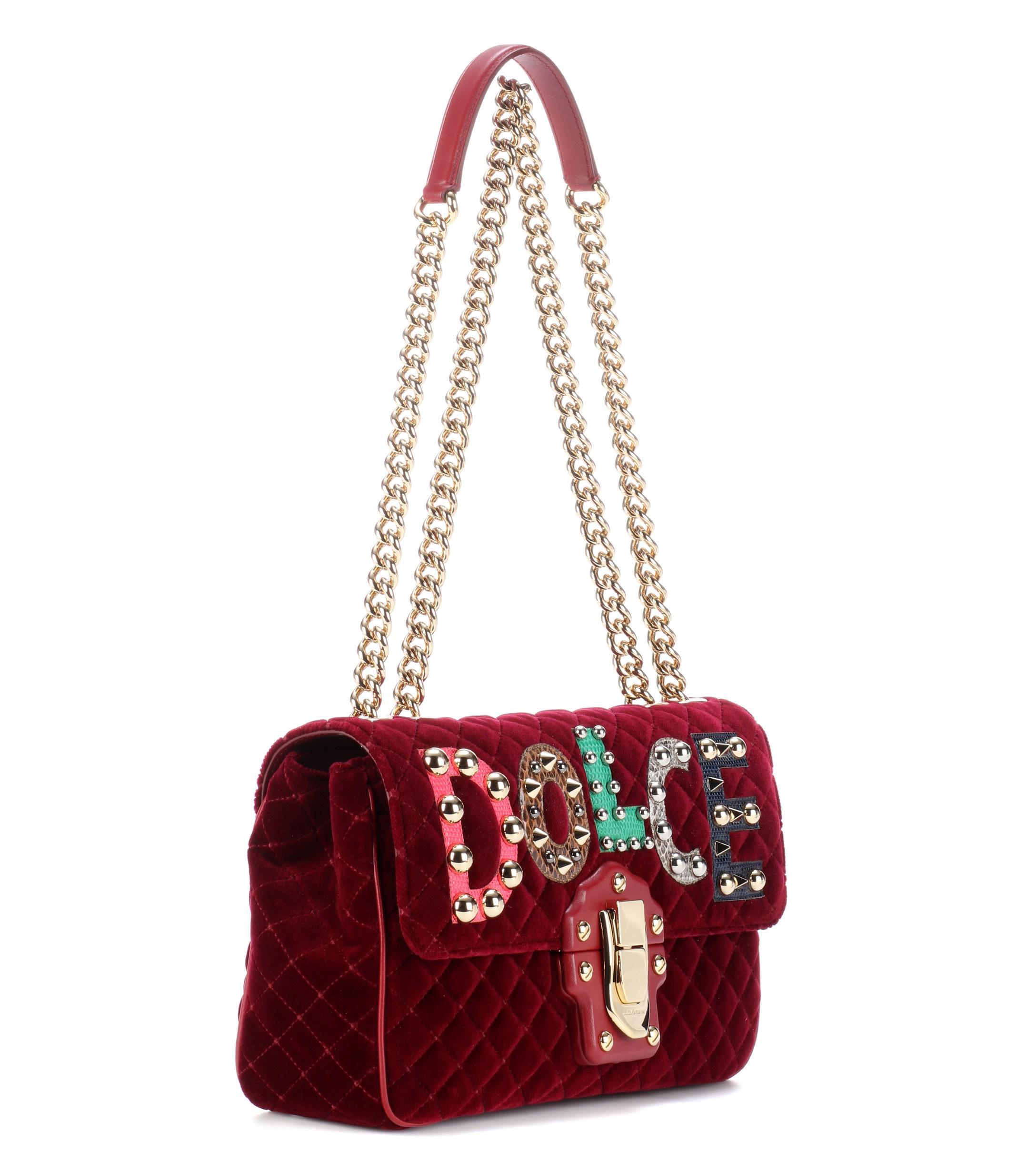 ed859eebafe5 Lyst - Dolce   Gabbana Lucia Leather And Velvet Shoulder Bag in Red