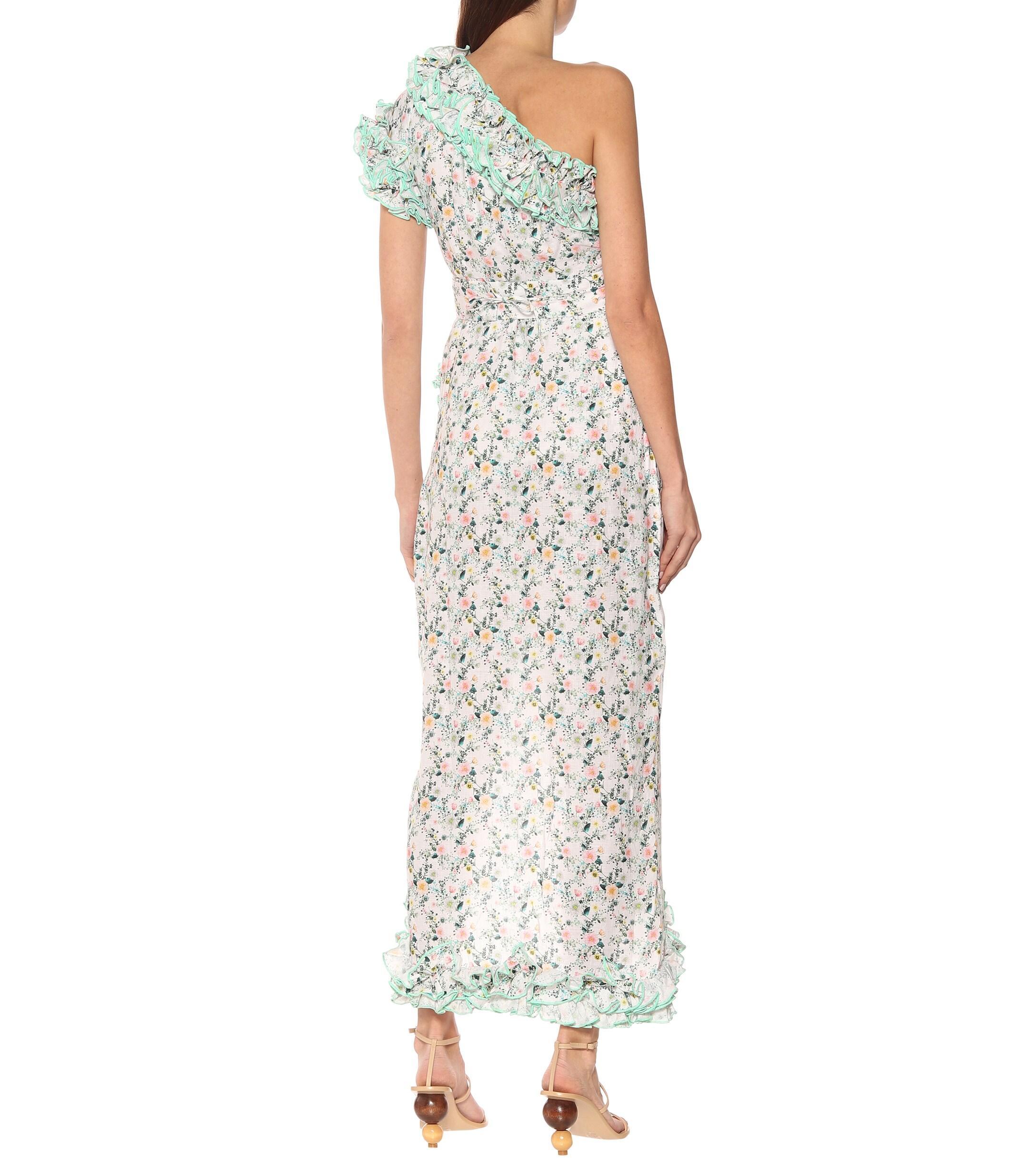 Vestido de lino floral Gül Hürgel de color Verde