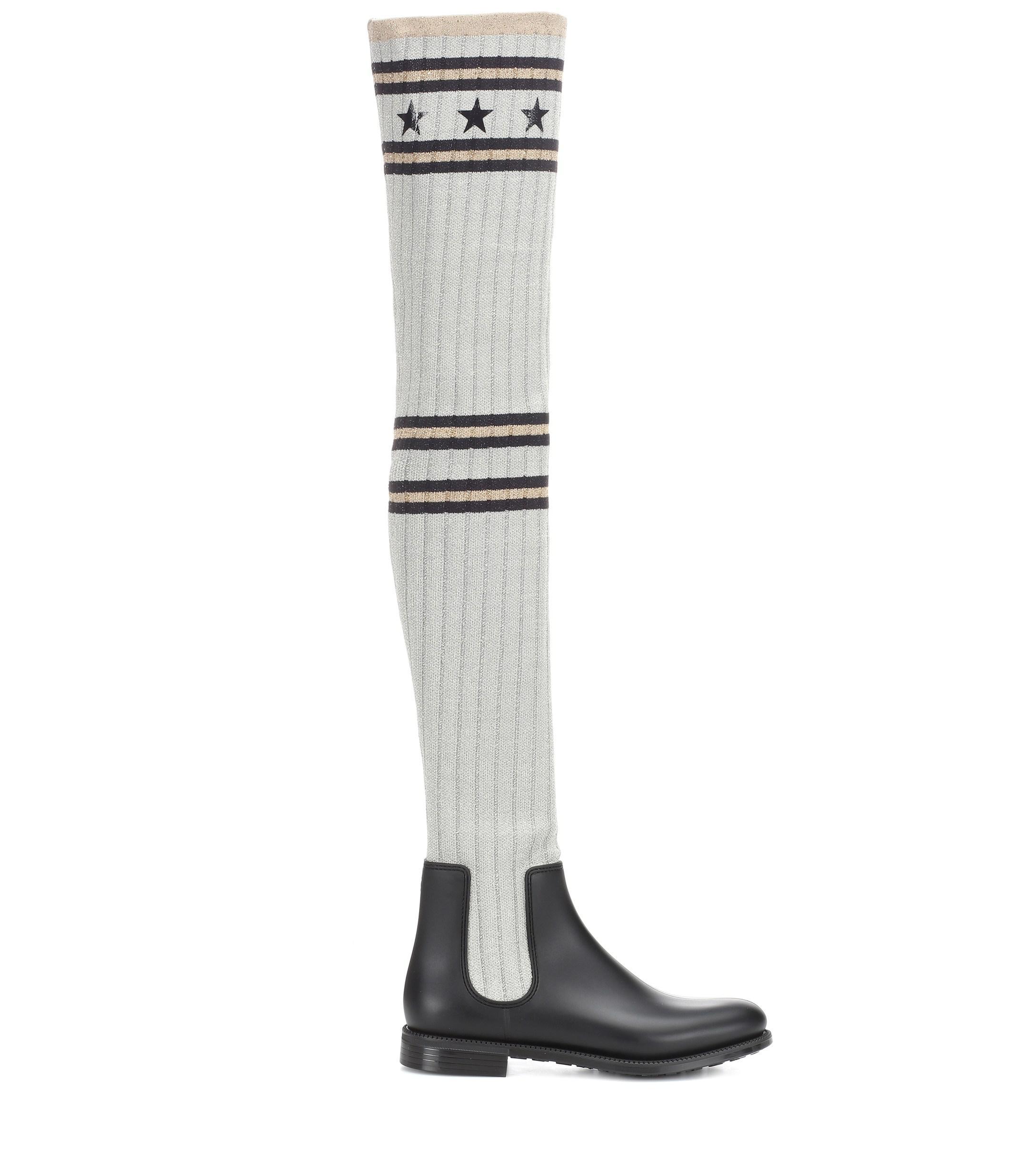 105mm Hohe Overknee stiefel Aus Leder Und Strick