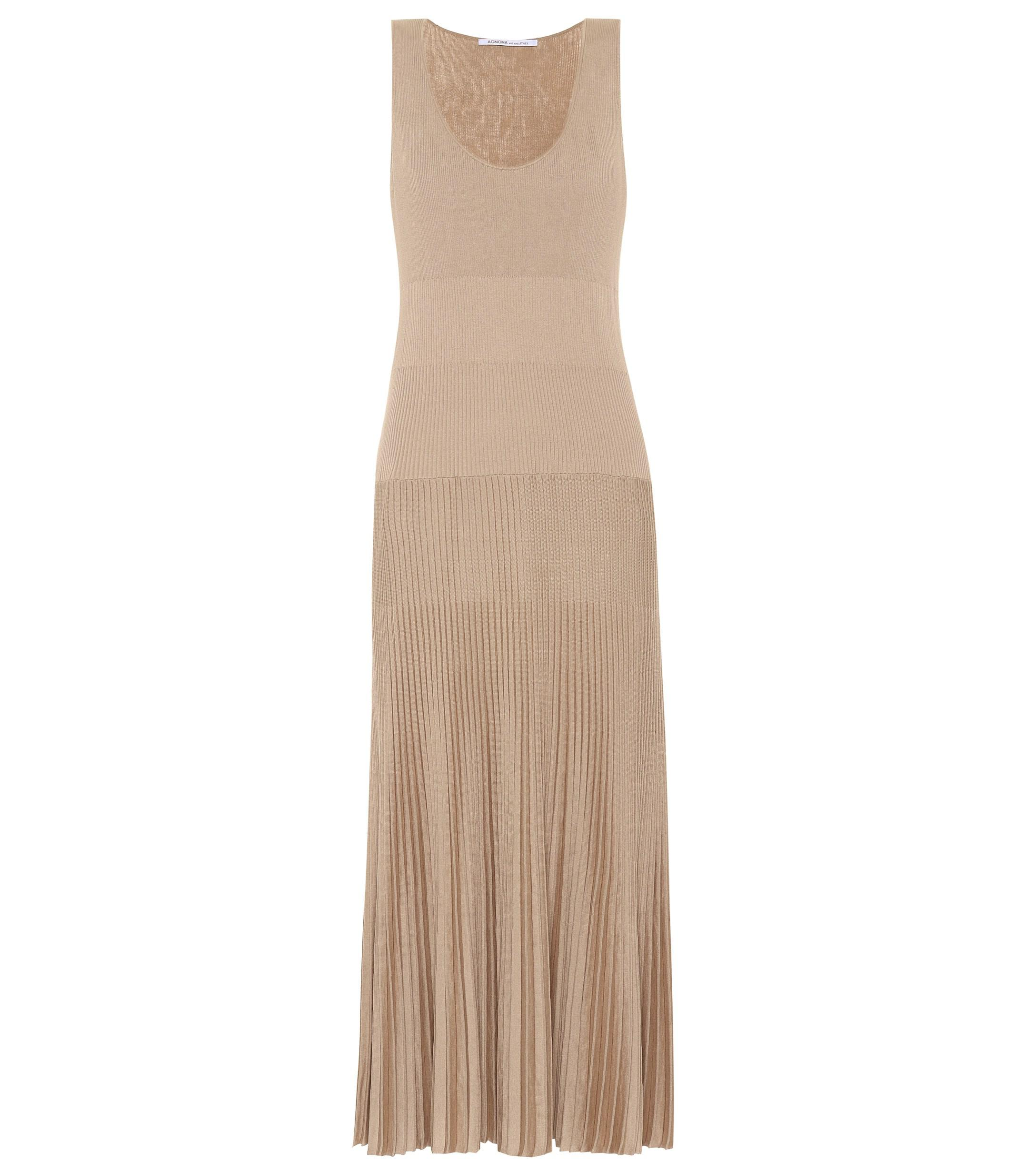 a7dc258efd Agnona Cotton And Silk Knit Maxi Dress in Natural - Lyst