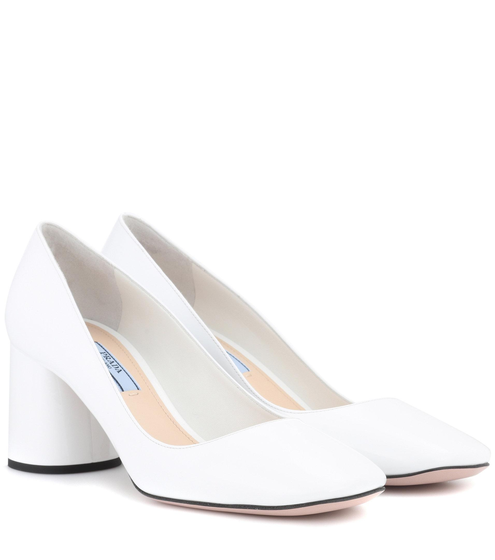 Prada Patent Leather Pumps in White - Lyst