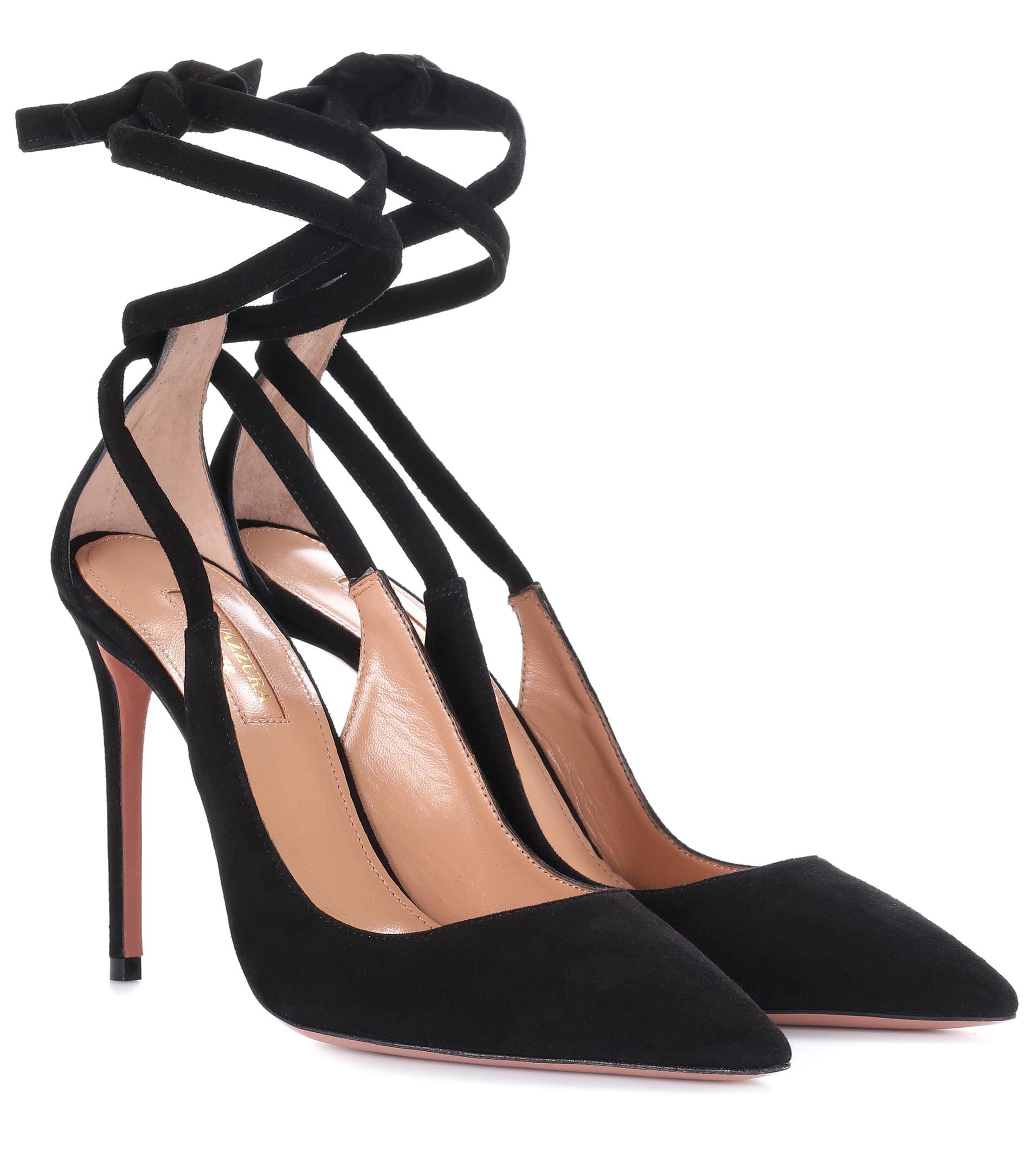 Milano Cutout Suede Pumps - Black Aquazzura K3Zasc