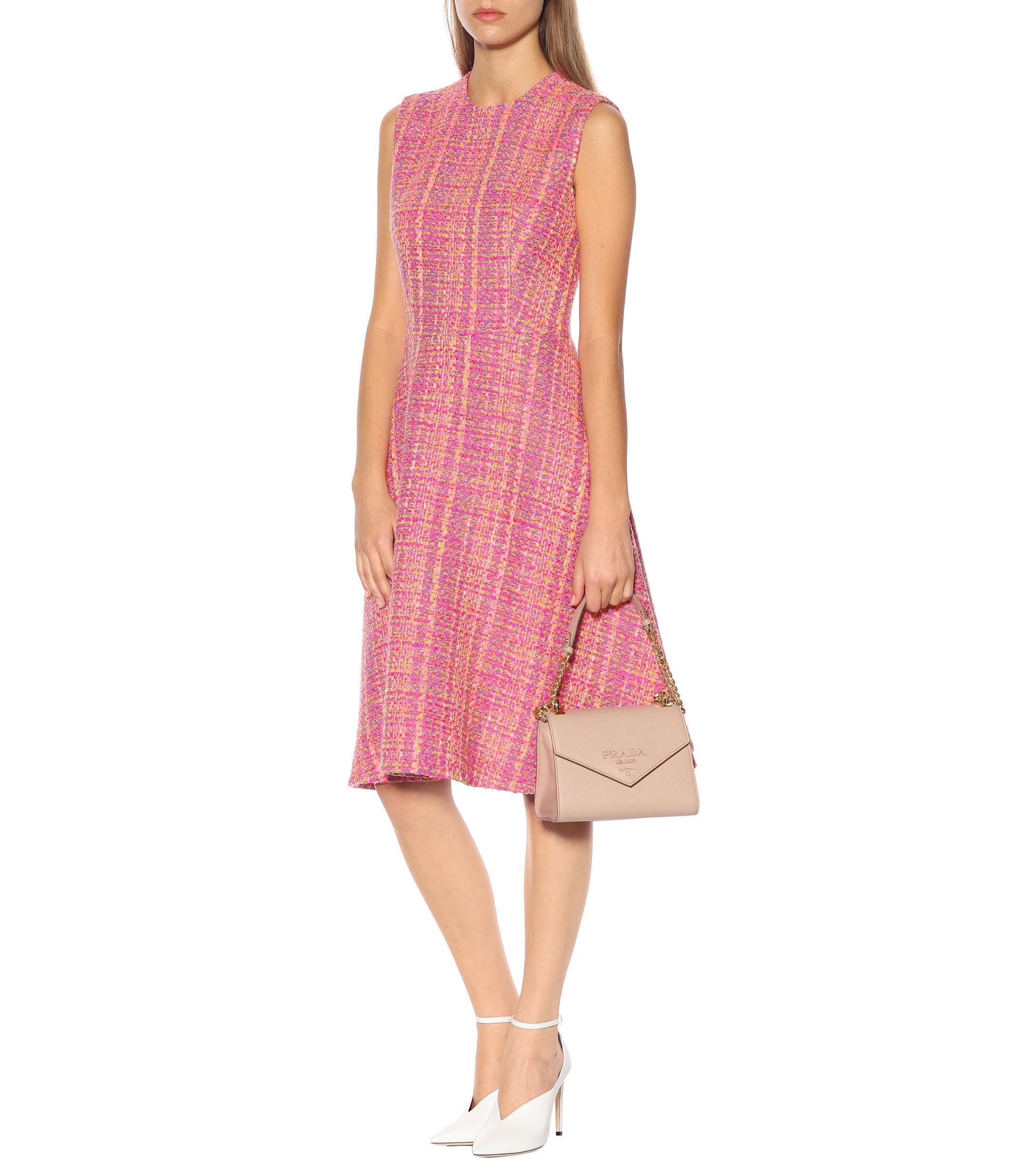 Vestido de tweed de lana Prada de color Rosa