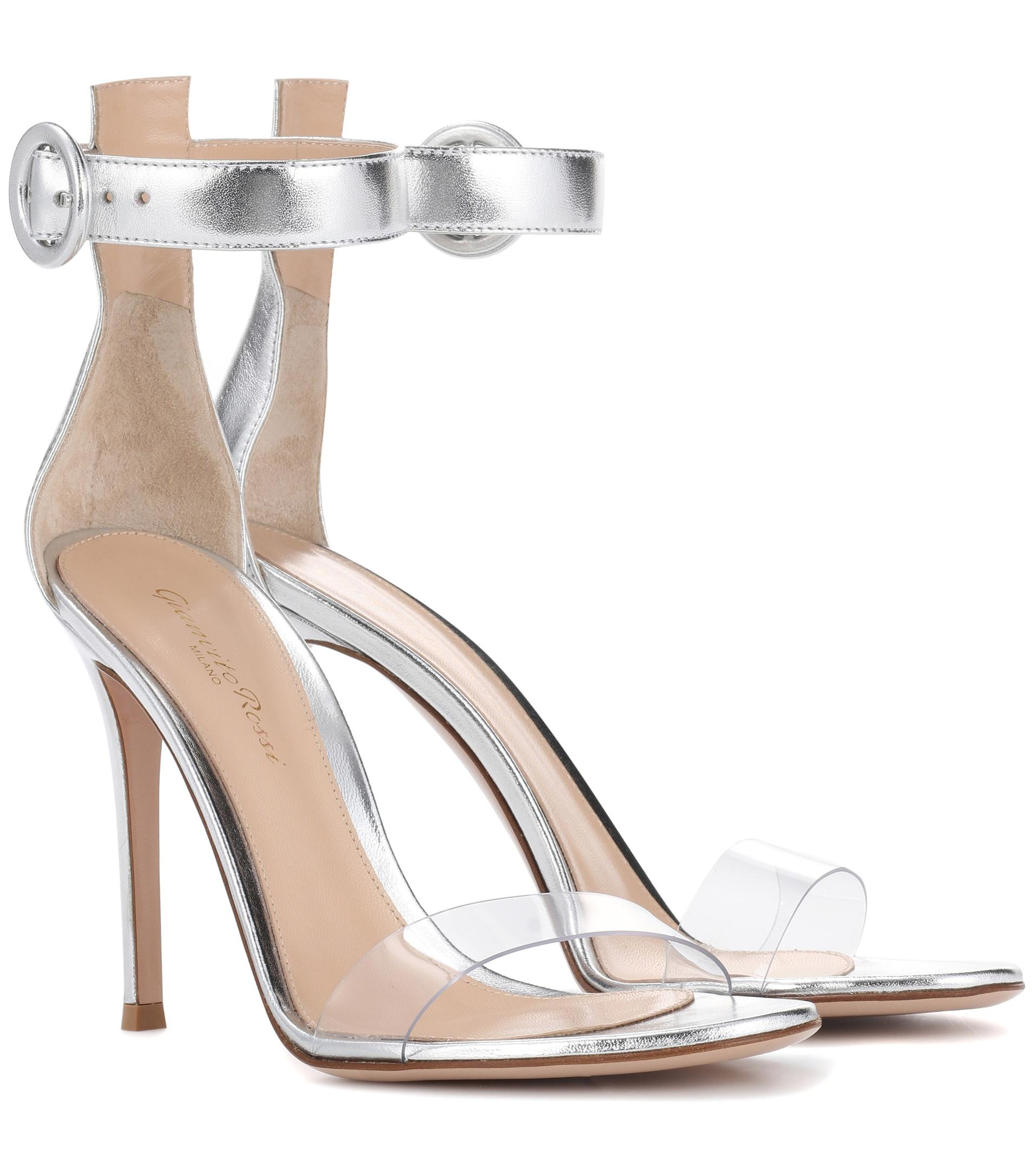 54f5c6f625d Gianvito Rossi Metallic Leather Sandals in Metallic - Lyst
