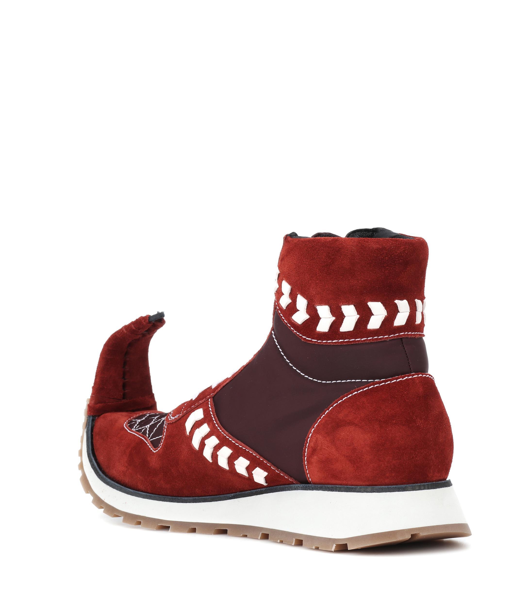 Loewe Suede Sneakers in Red