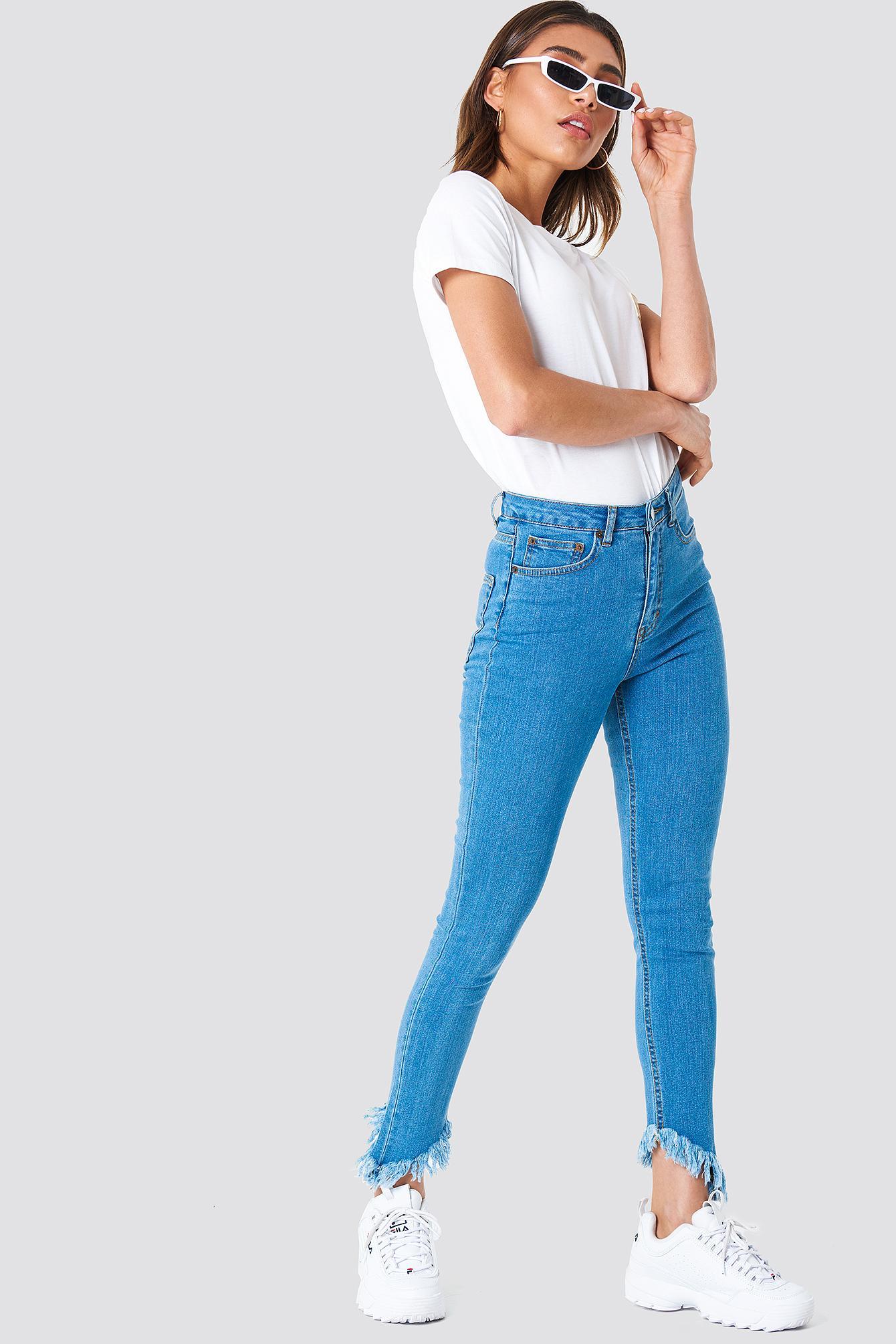 NA-KD Denim Slanting Hem Jeans Blue