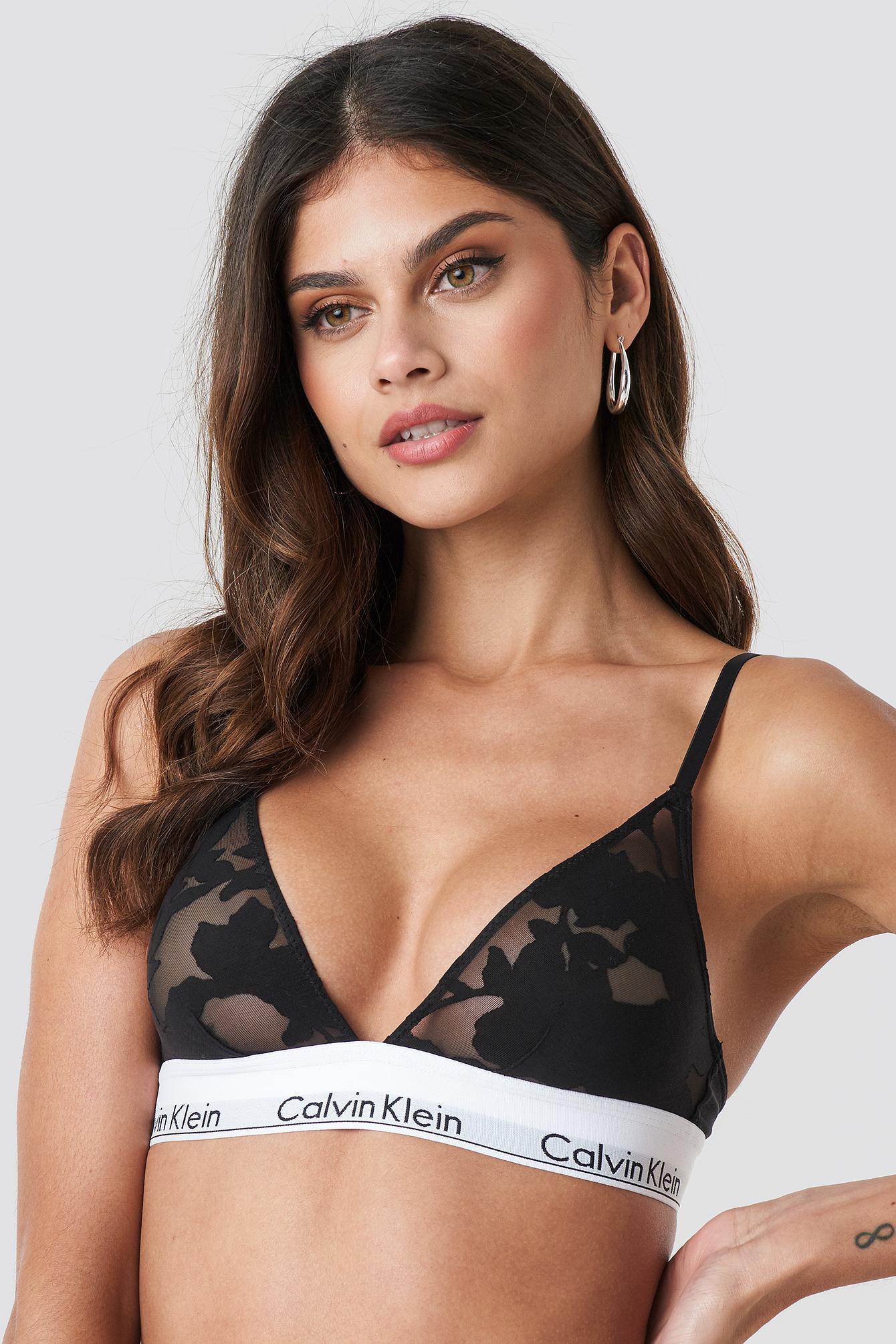 287e2bdaba6 Calvin Klein - Unlined Triangle Bra Floral Burnout Black - Lyst. View  fullscreen