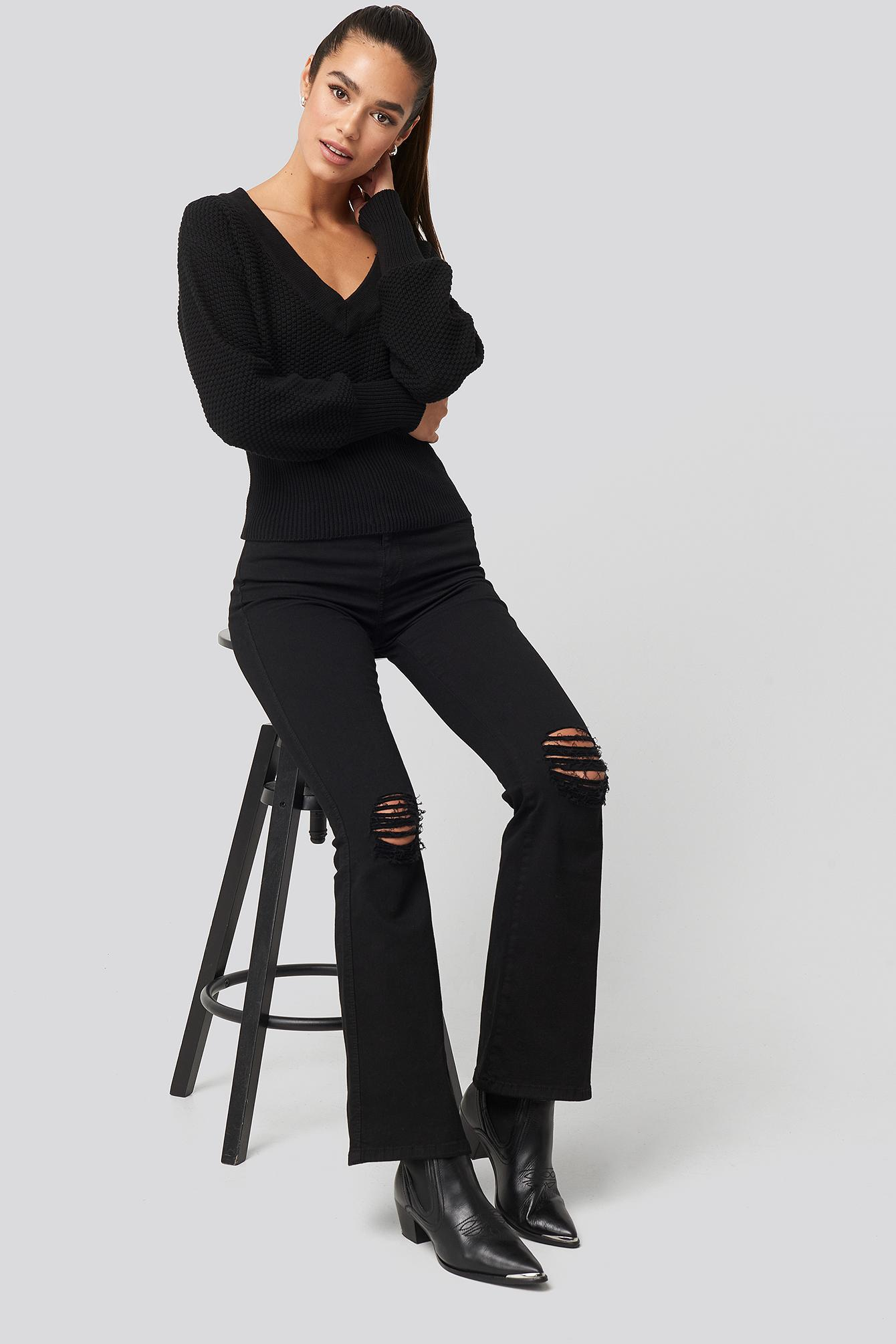 Short Knitted Wide Rib Sweater Coton NA-KD en coloris Noir