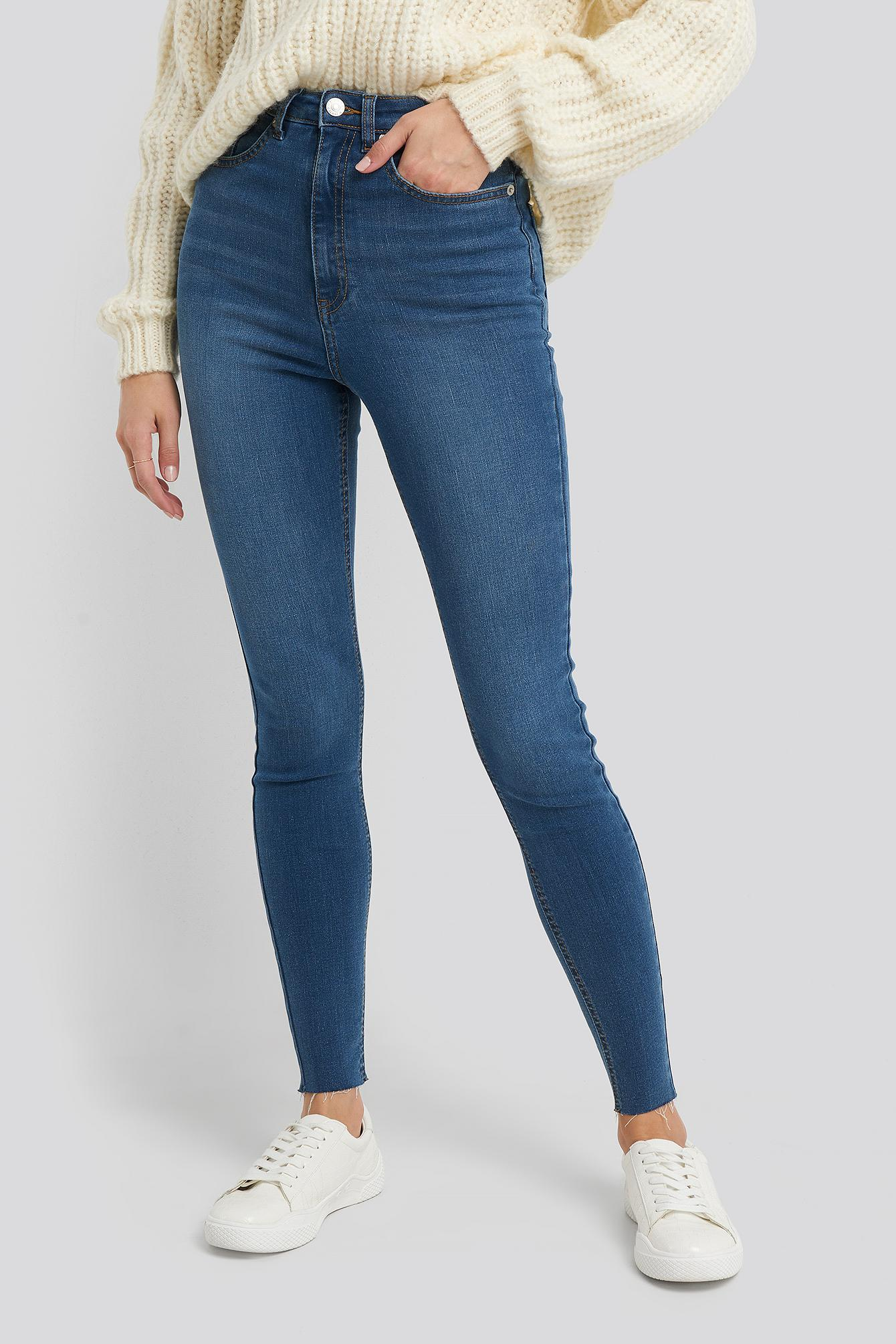 Super High Waist Skinny Jeans Jean NA-KD en coloris Bleu