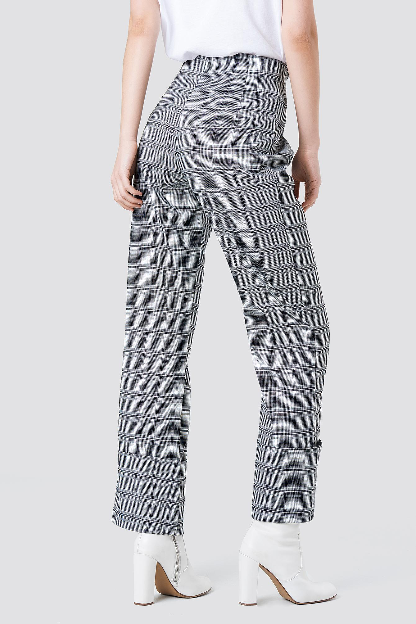 NA-KD Synthetic Front Knot Detail Flared Pants Grey