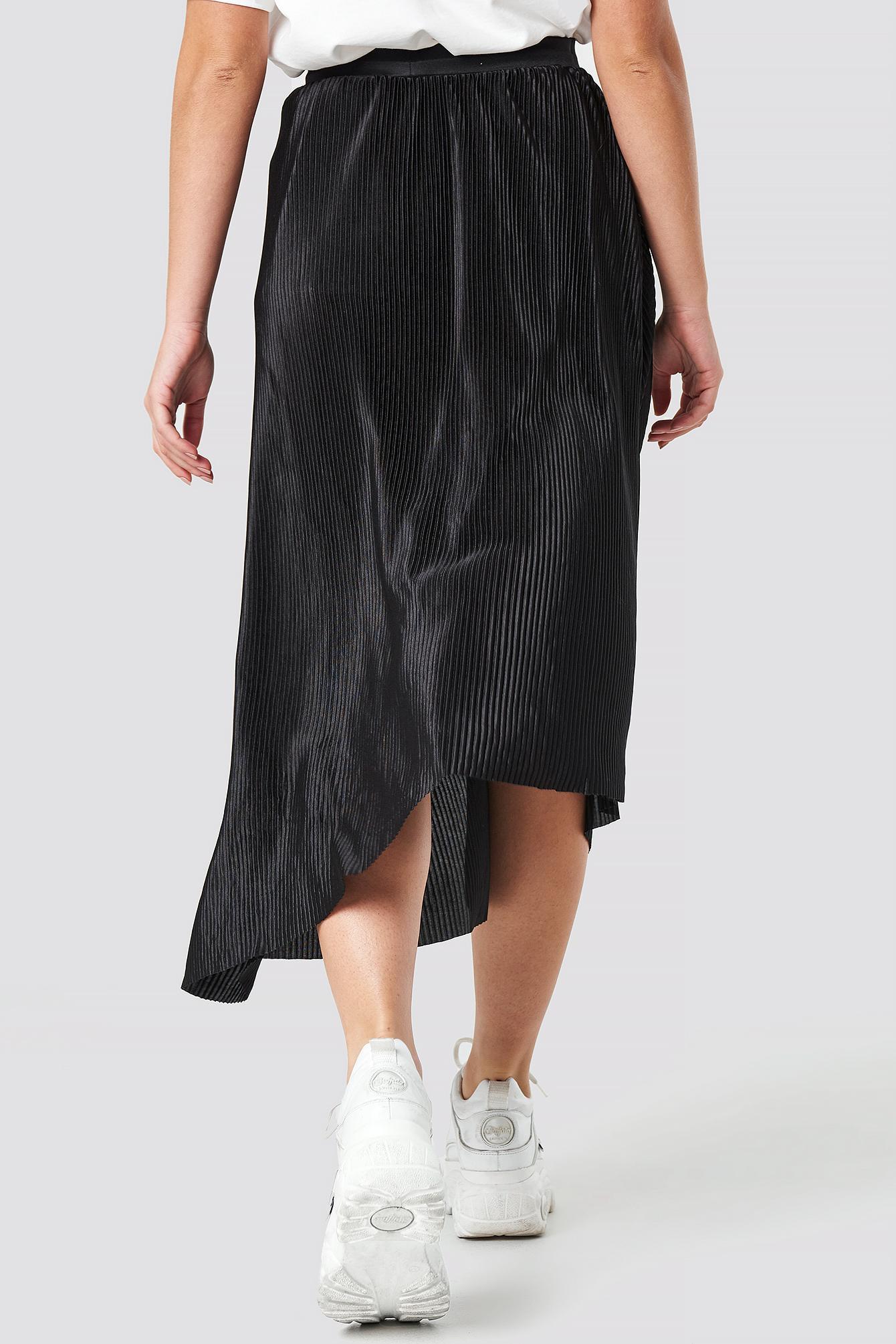 NA-KD Satin Pleated Asymmetric Midi Skirt Black