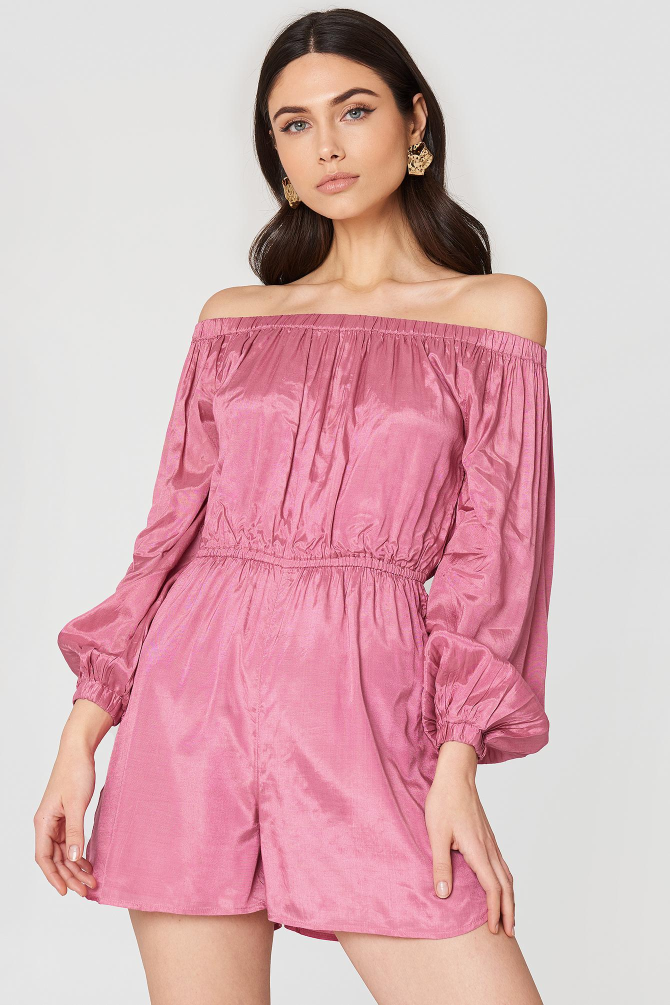 9223285e18a6c4 Lyst - NA-KD Off Shoulder Balloon Sleeve Playsuit Ballet Pink in Pink