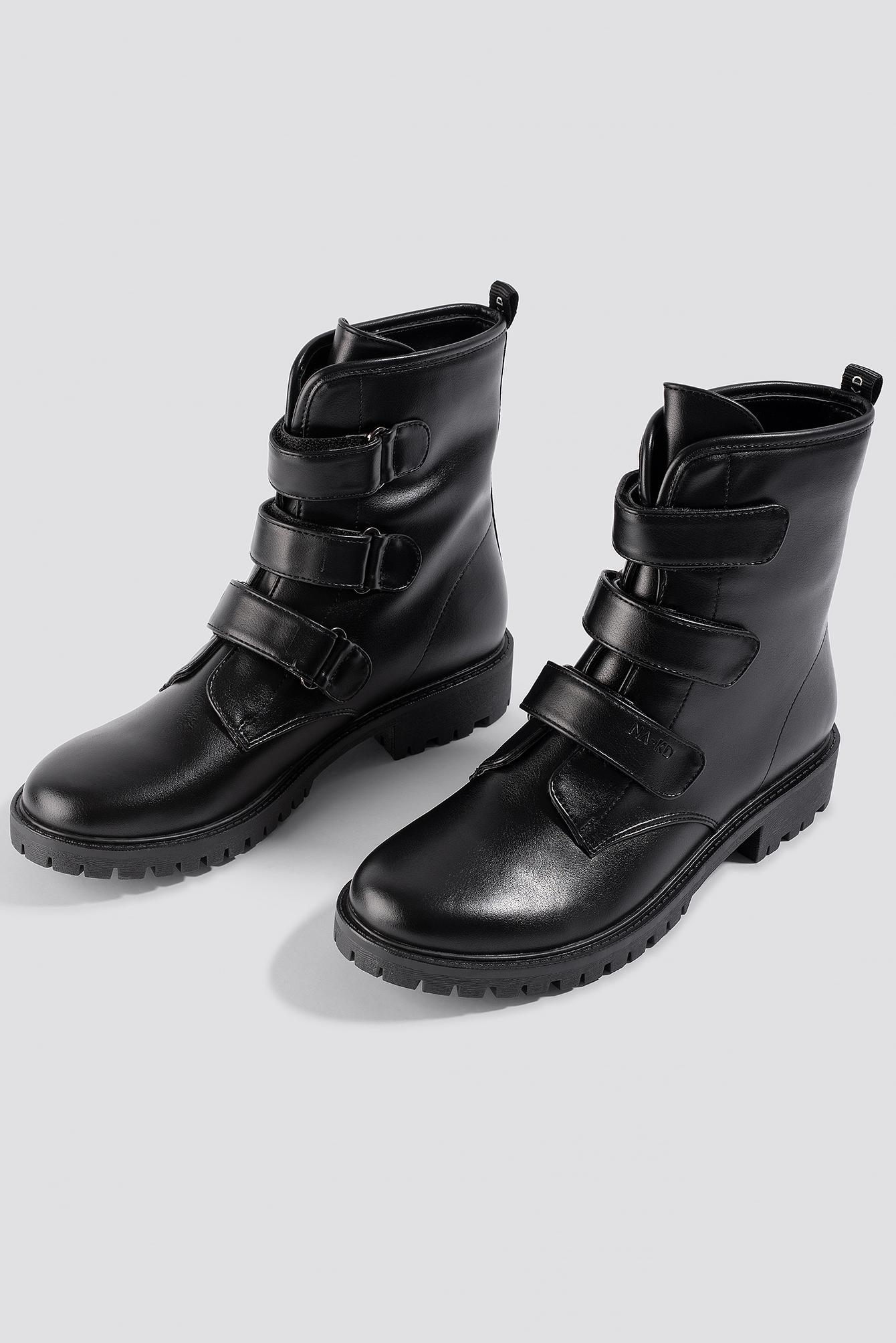 NA-KD Synthetic Velcro Combat Boots