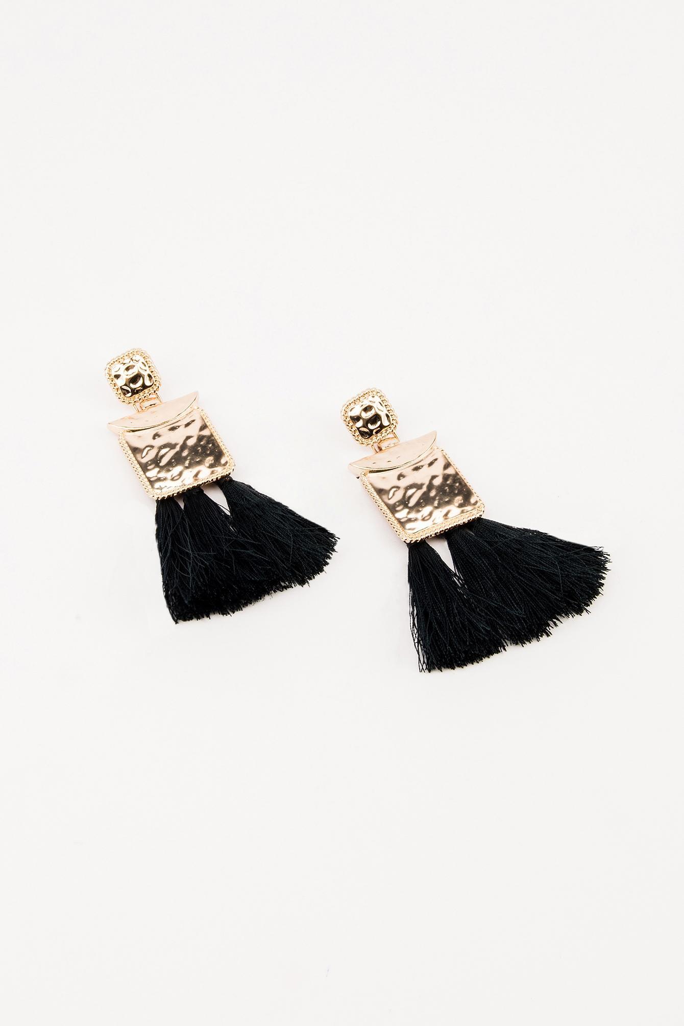 NA-KD Square Block Tassels Earring Black