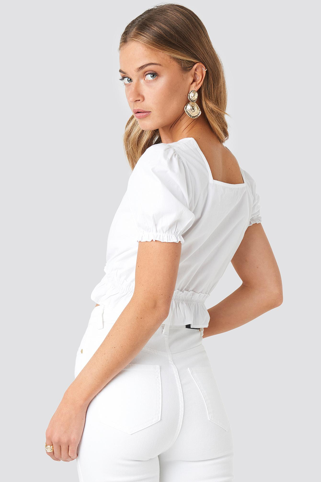 46ce4eb98f5 NA-KD - Cropped Frill Short Sleeve Top White - Lyst. View fullscreen
