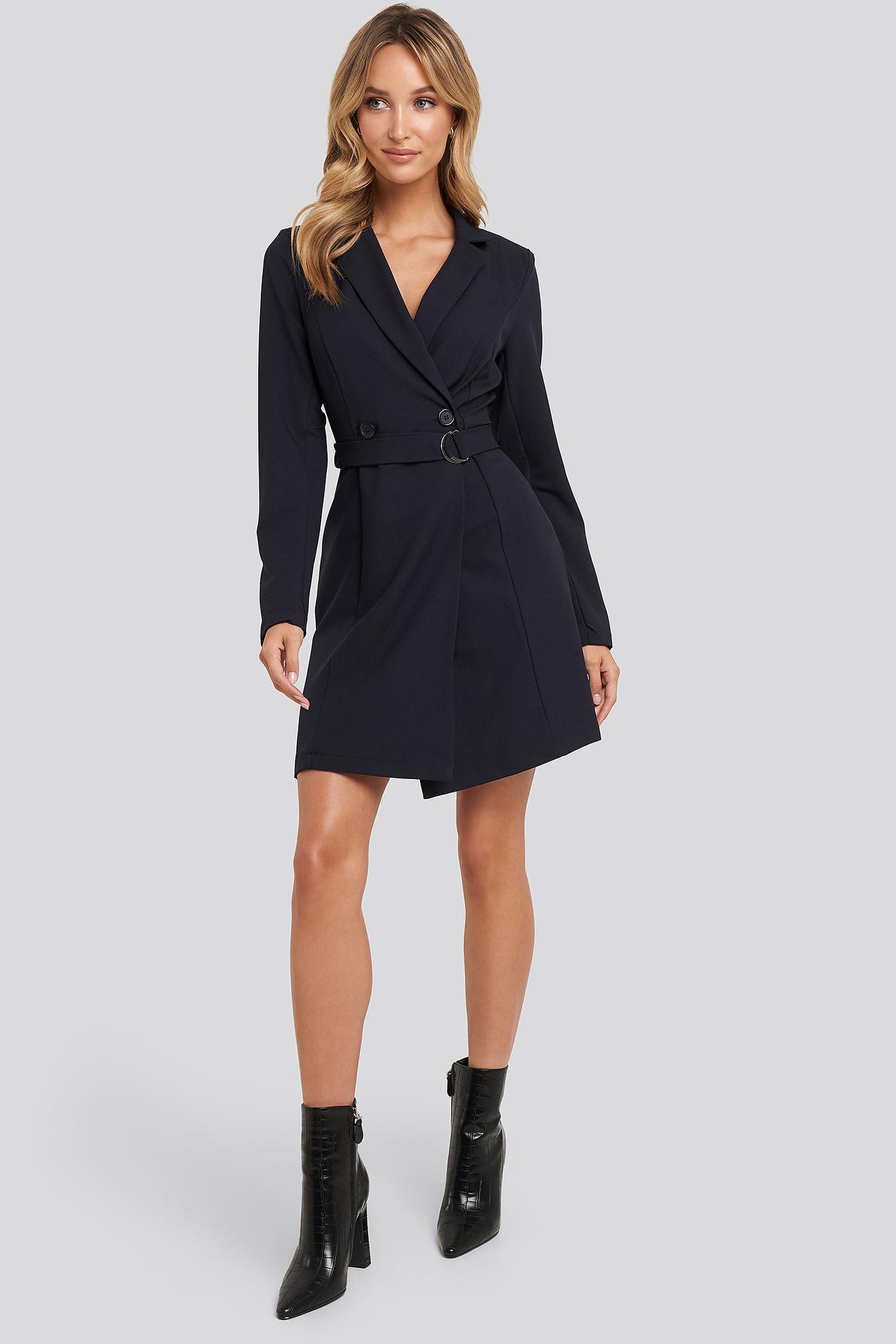 Binding Detailed Blazer Dress Synthétique Trendyol en coloris Bleu