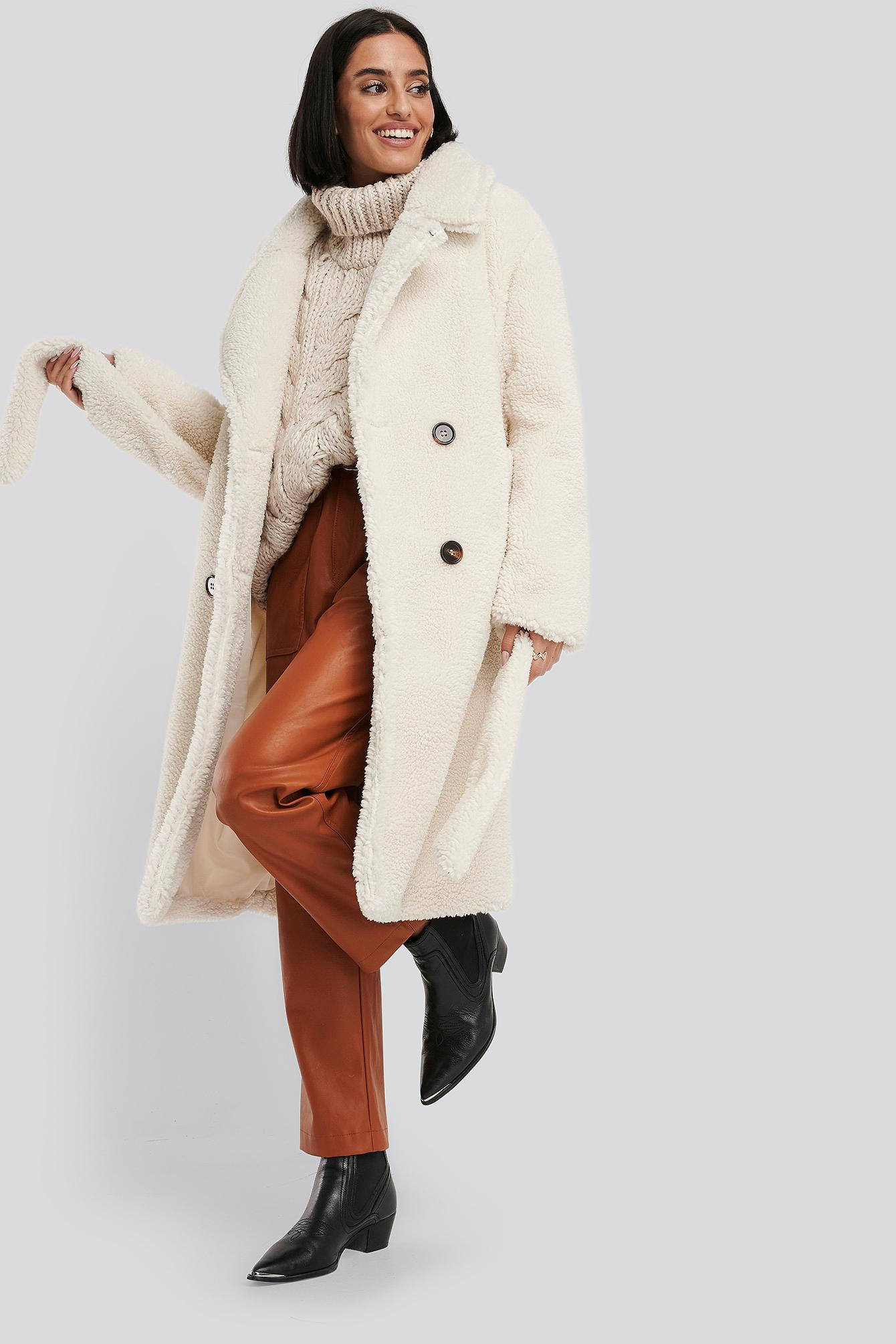 Belted Long Teddy Coat Synthétique NA-KD en coloris Blanc