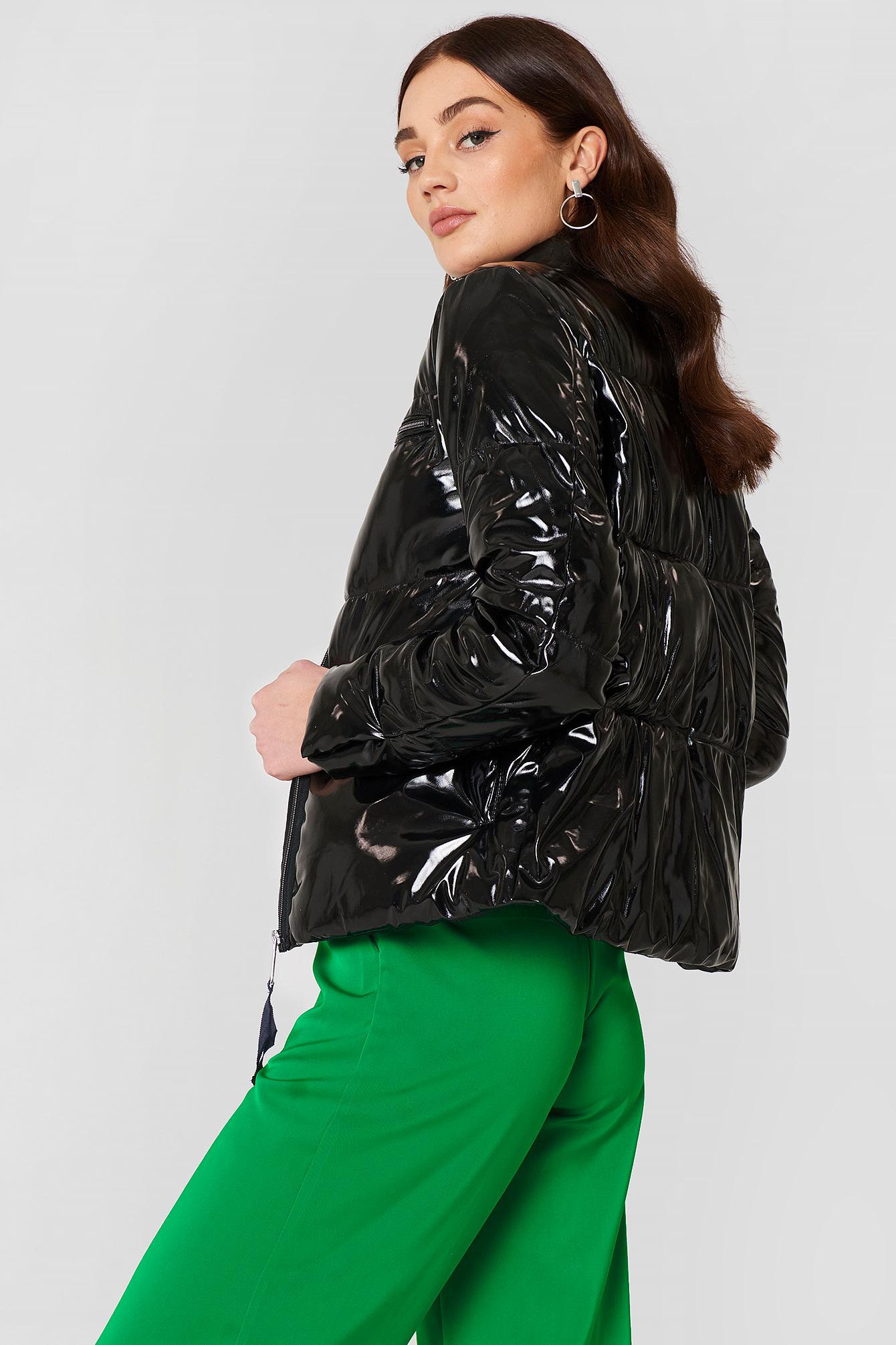 Lyst - Mango Vinyl Quilted Coat in Black e1ea4bca0
