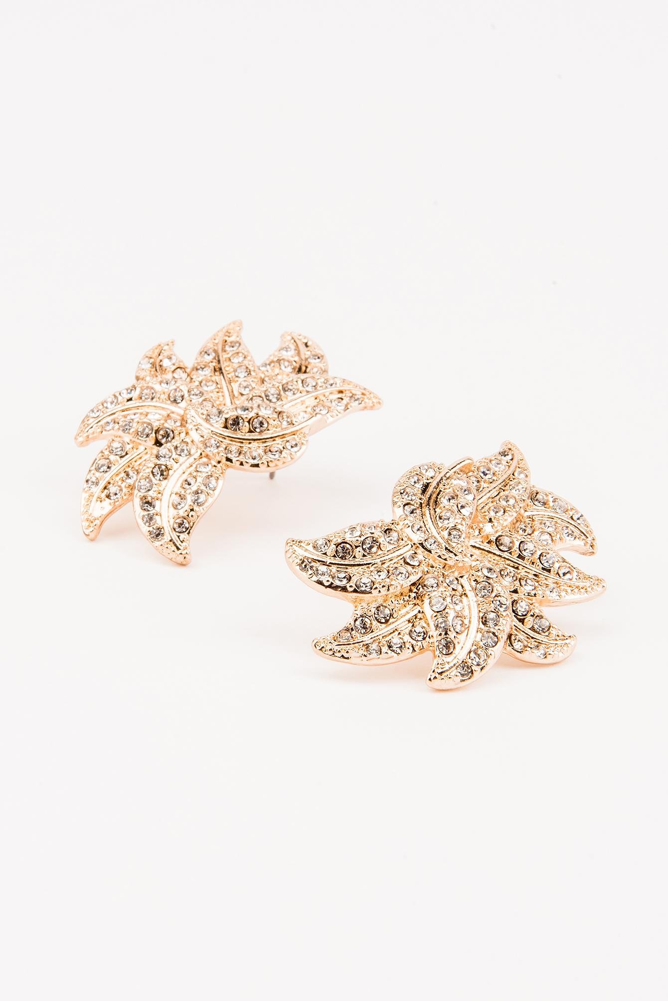 NA-KD Rhinestone Leaf Earring in Gold (Metallic)