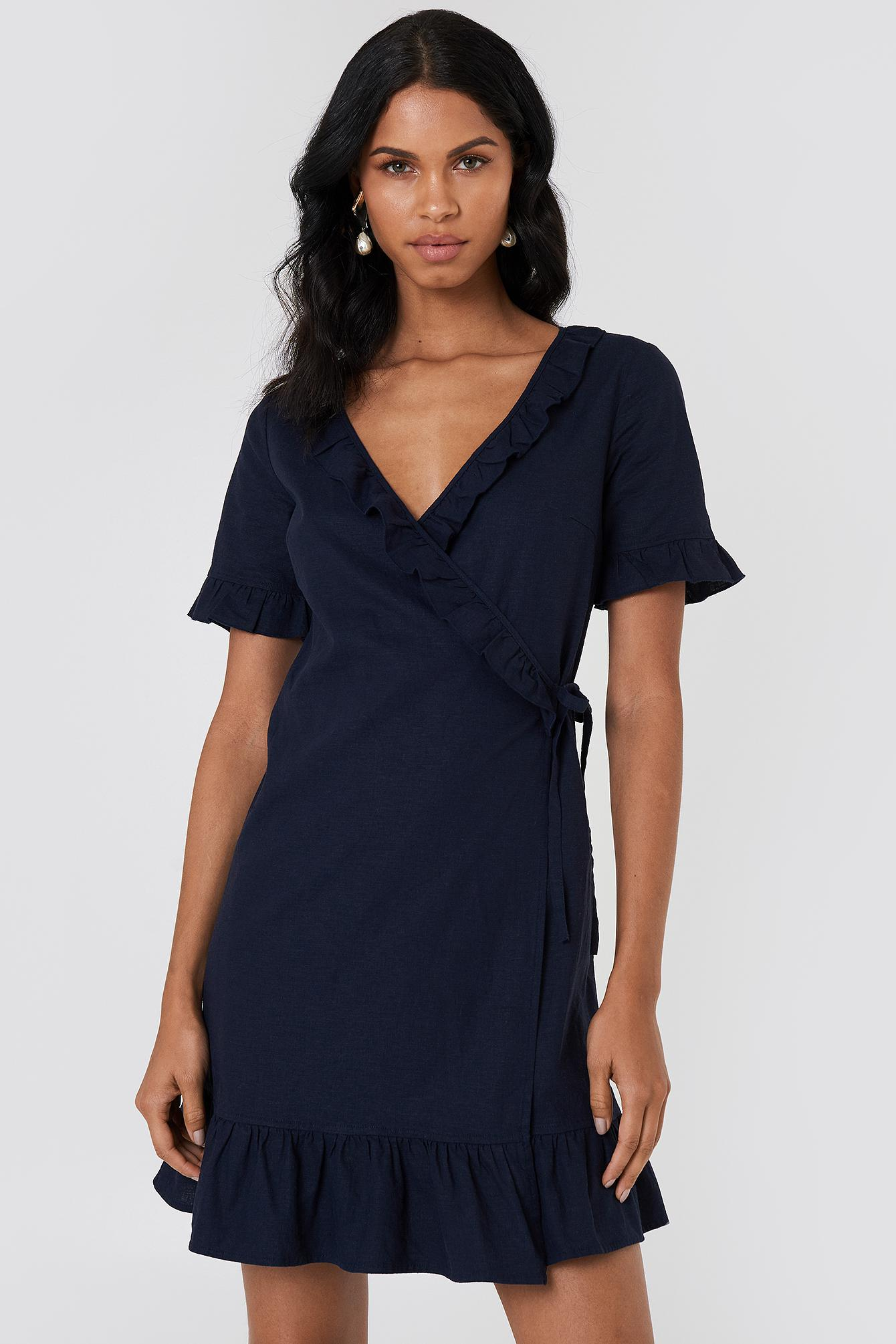 09e6a206ce8 NA-KD Wrap Over Frill Linen Look Dress Dark Blue in Blue - Lyst