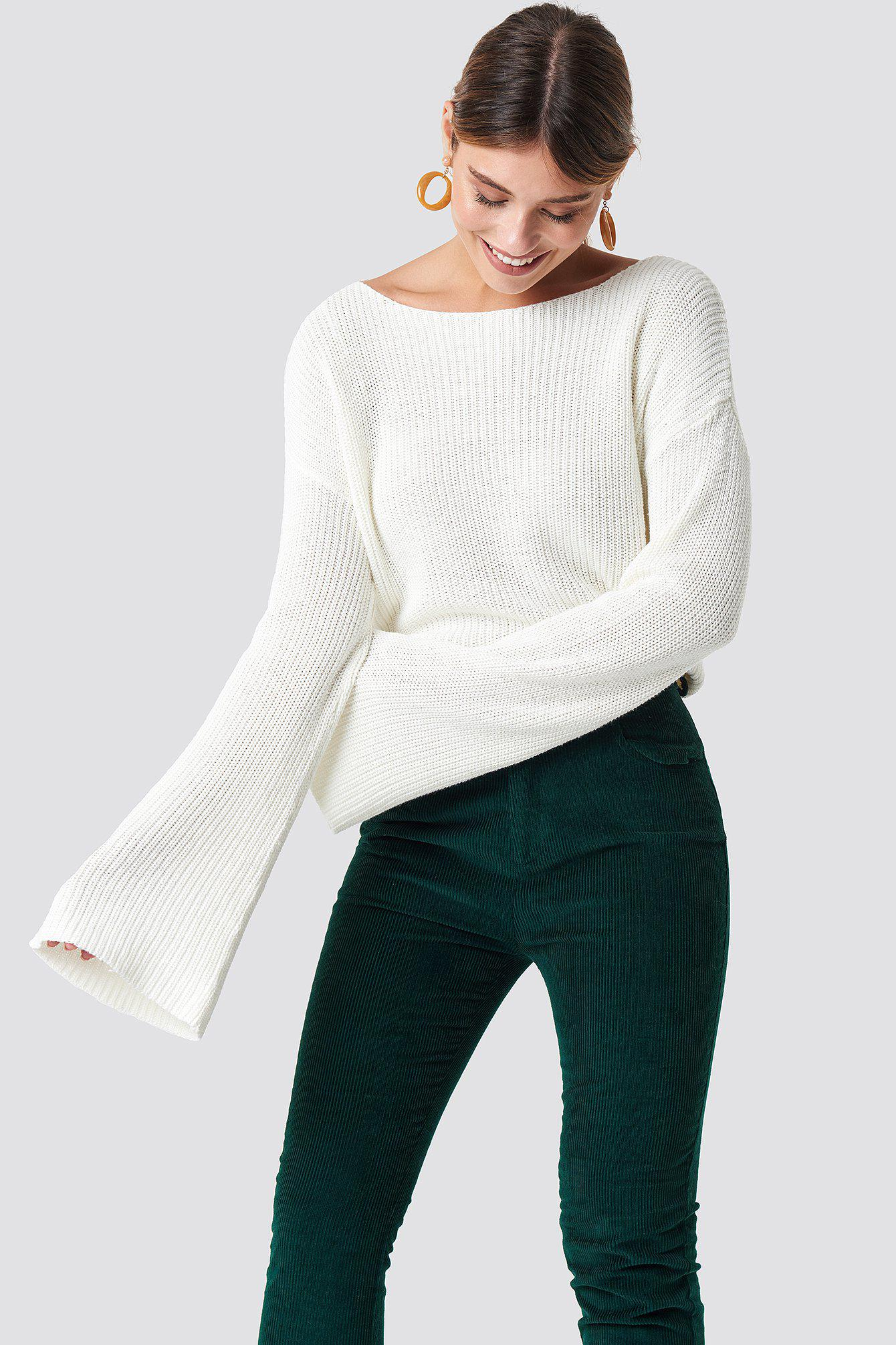 Knitted White Kd Na Lyst Sweater In Long Cropped Sleeve xXwpOqg0