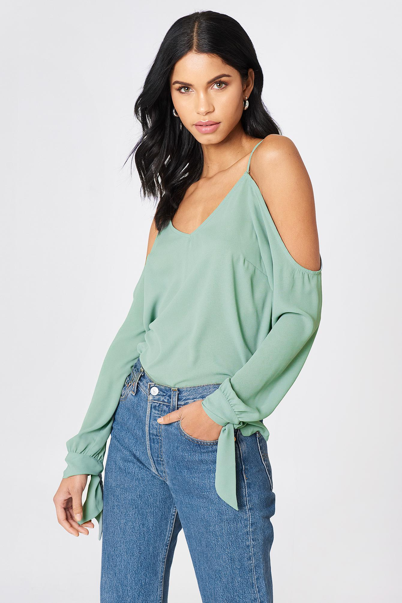 2c26b680a3202f NA-KD - Cold Shoulder Knot Sleeve Top Duck Green - Lyst. View fullscreen