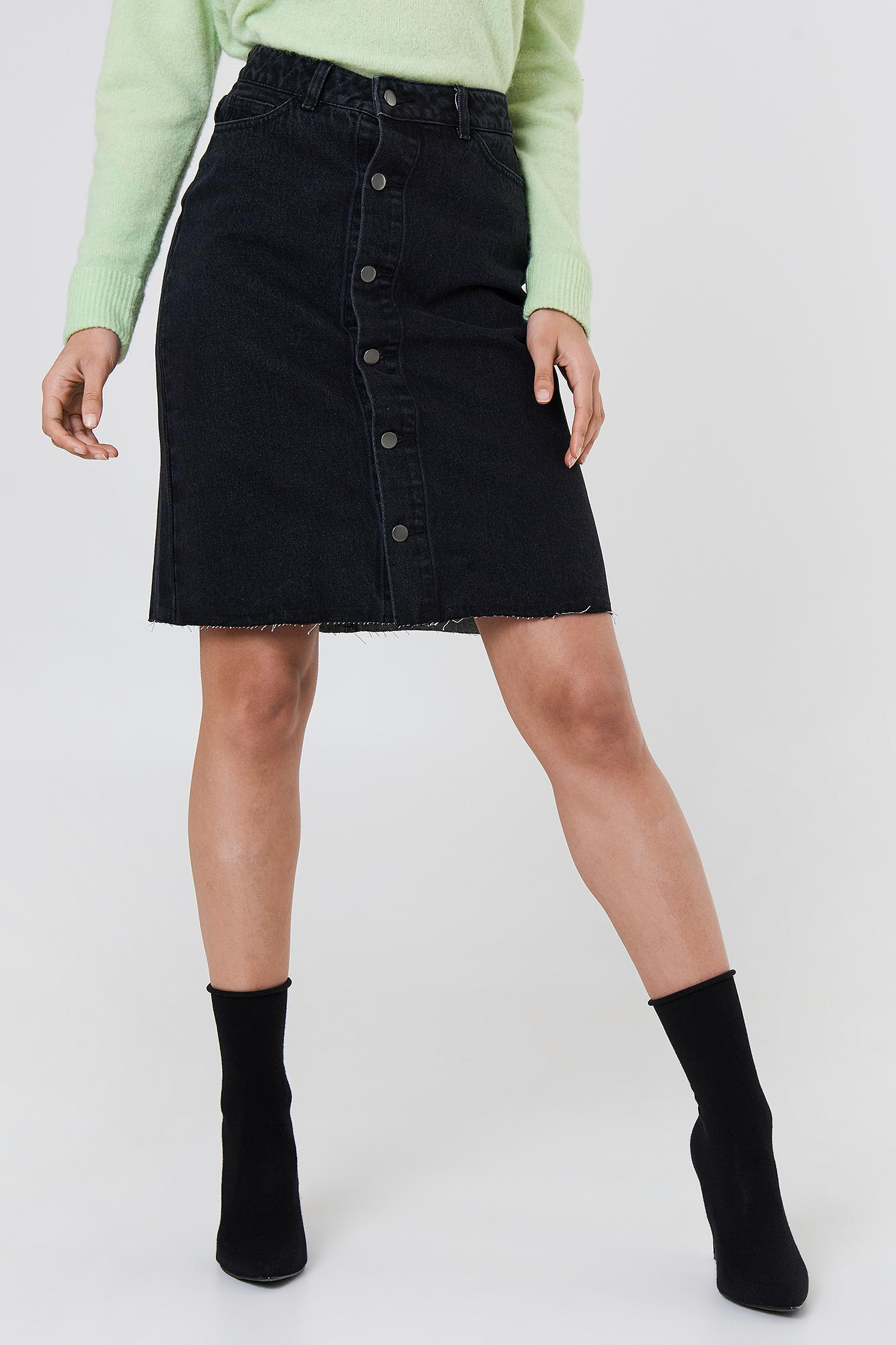 789b556fc NA-KD - Button Up Long Denim Skirt Black - Lyst. View fullscreen