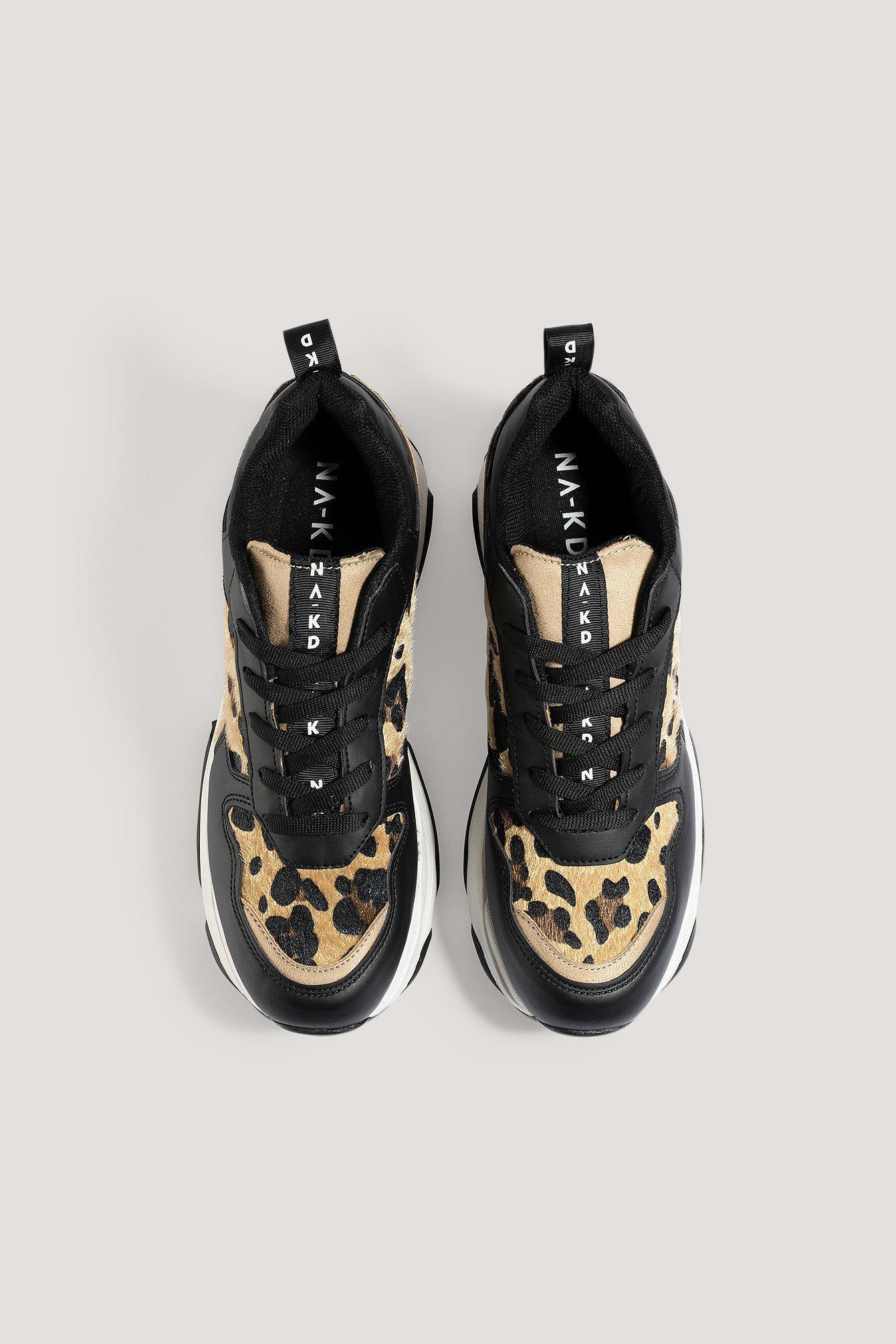 Leopard Detailed Chunky Trainers Synthétique NA-KD en coloris Noir