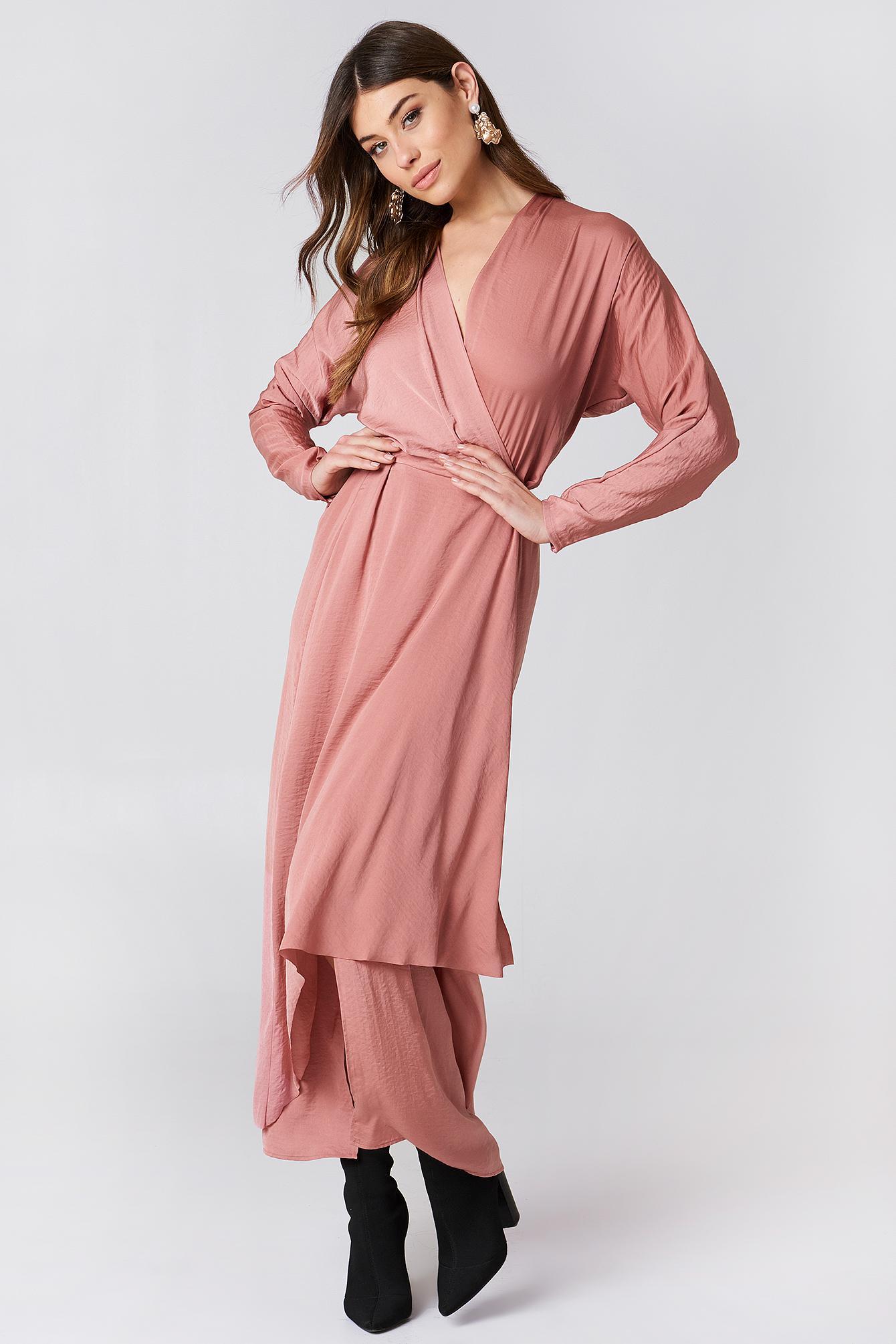 Lyst - Filippa K Drapey Wrap Dress in Pink cc58d26aa346