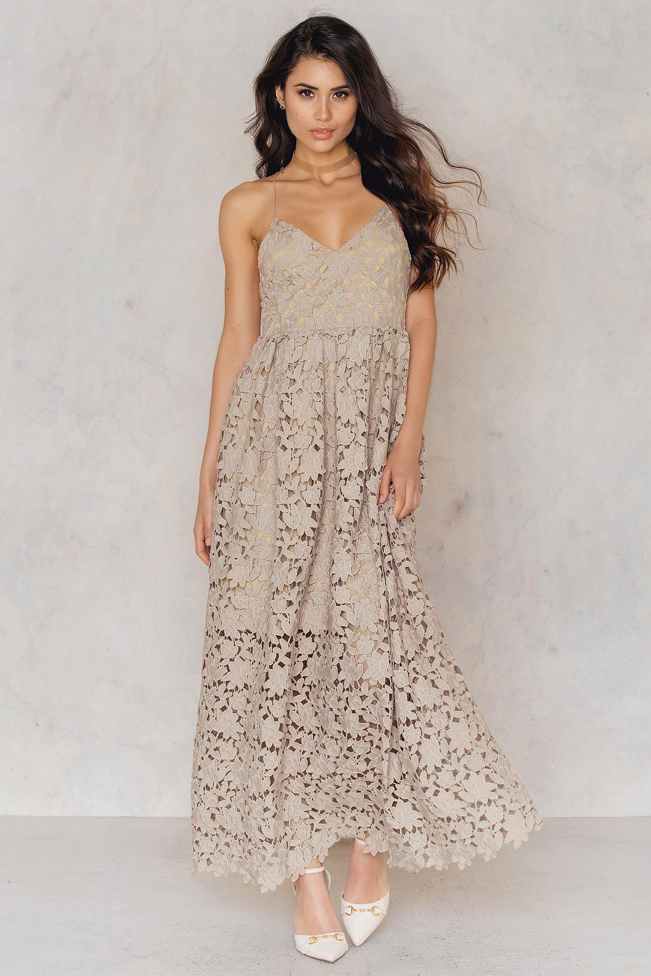 NA-KD Leather Flower Crochet Maxi Dress in Nude (Natural